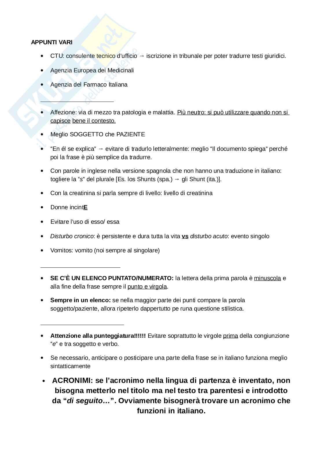 Appunti e Glossario Foglietto Illustrativo Spagnolo