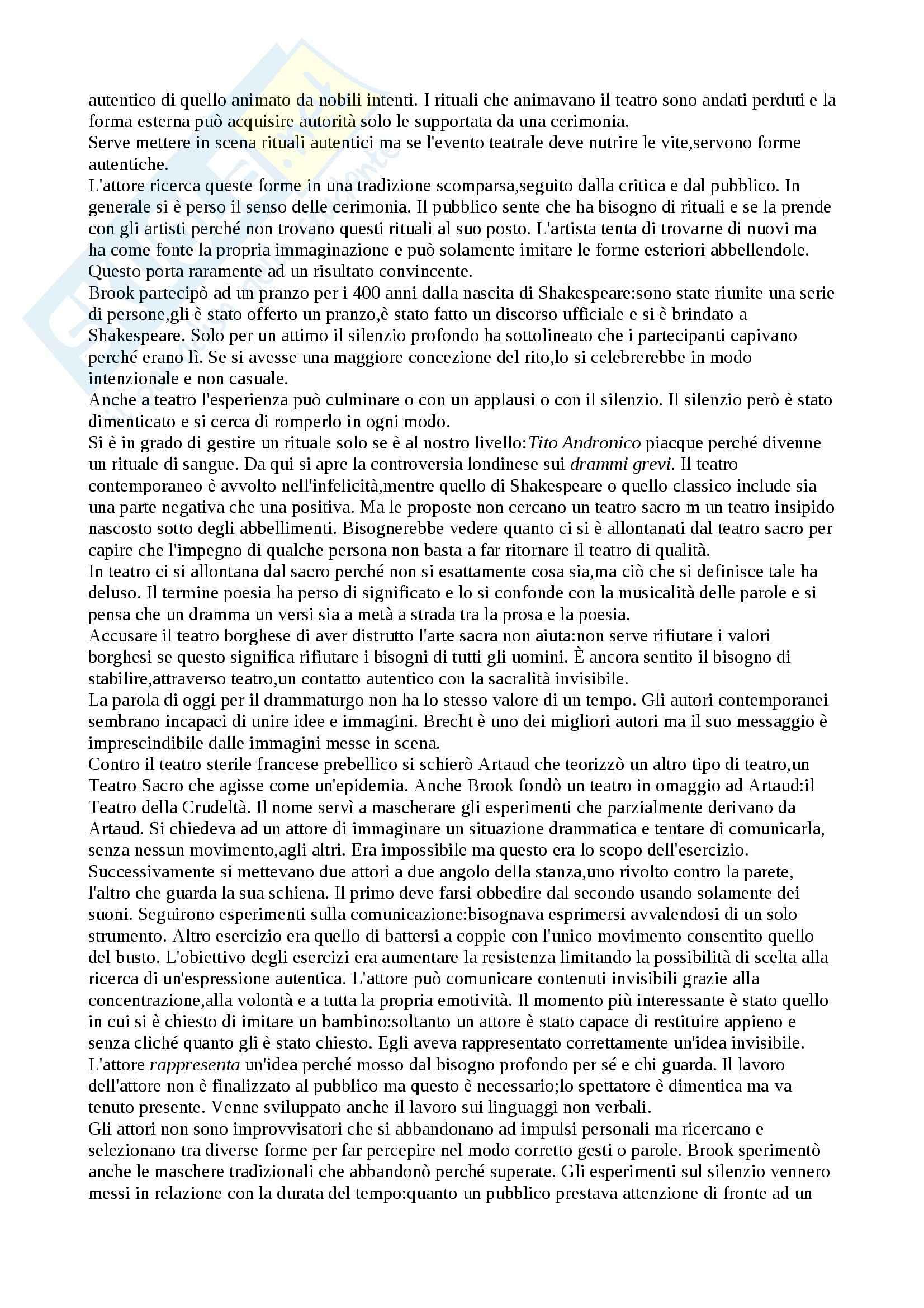 Riassunto esame Regia, prof. Sciaccaluga, libro consigliato Lo spazio vuoto, Brook Pag. 6