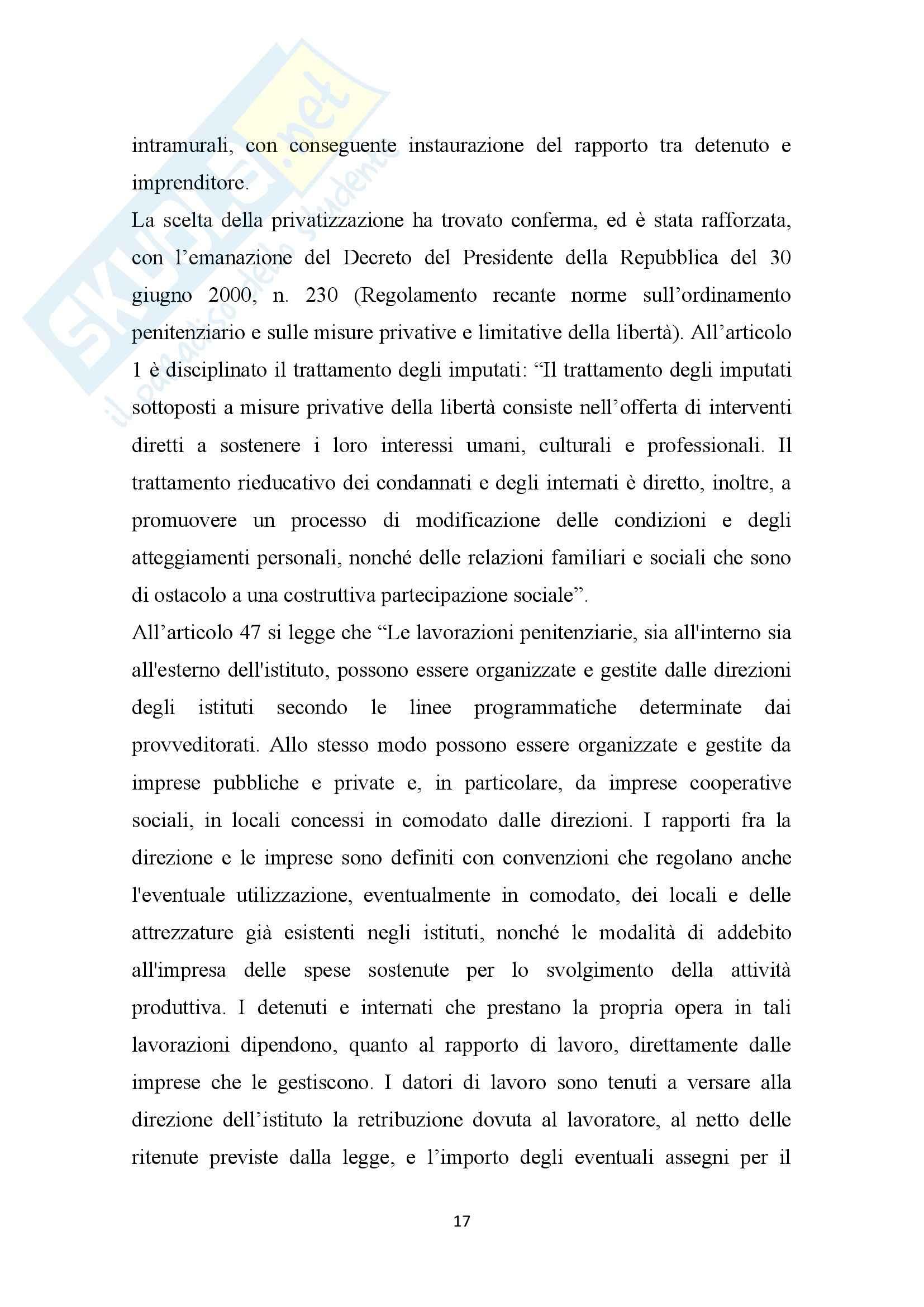 Tesi, Il carcere: luogo di riabilitazione o scuola di criminalità Pag. 21