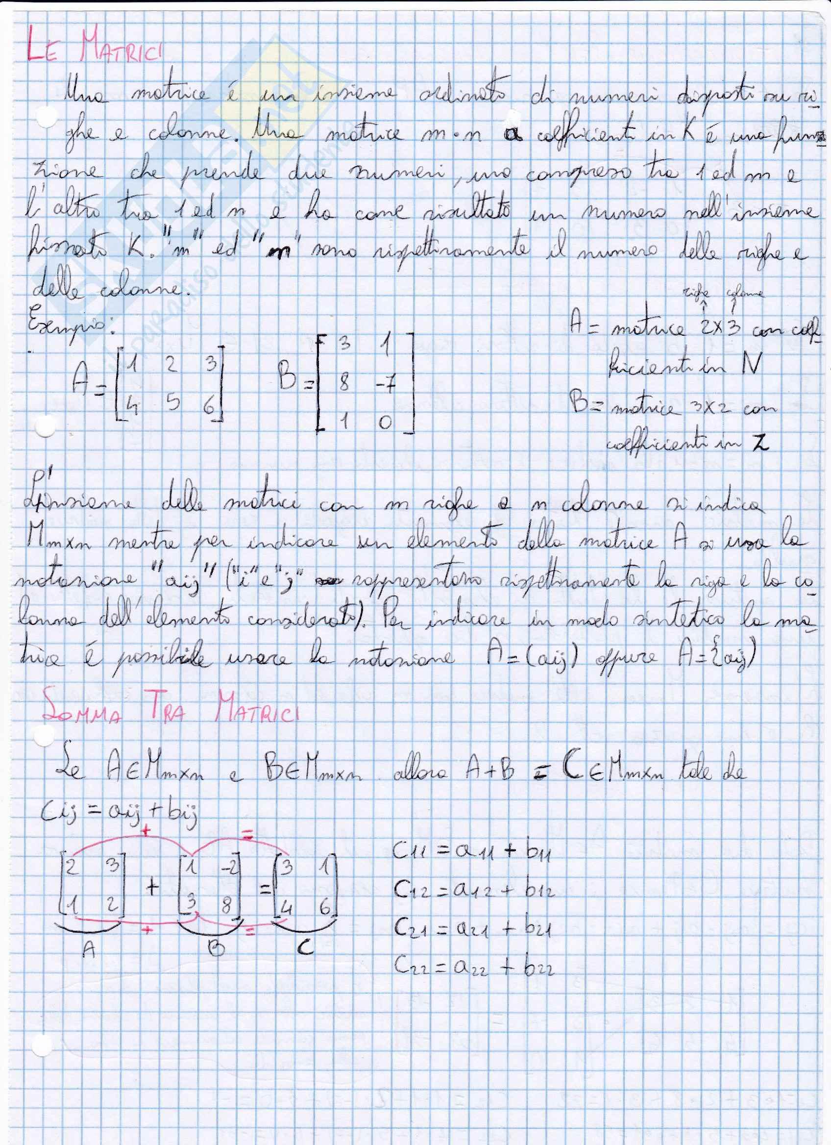 Le Matrici - Determinante - Rango - Gauss