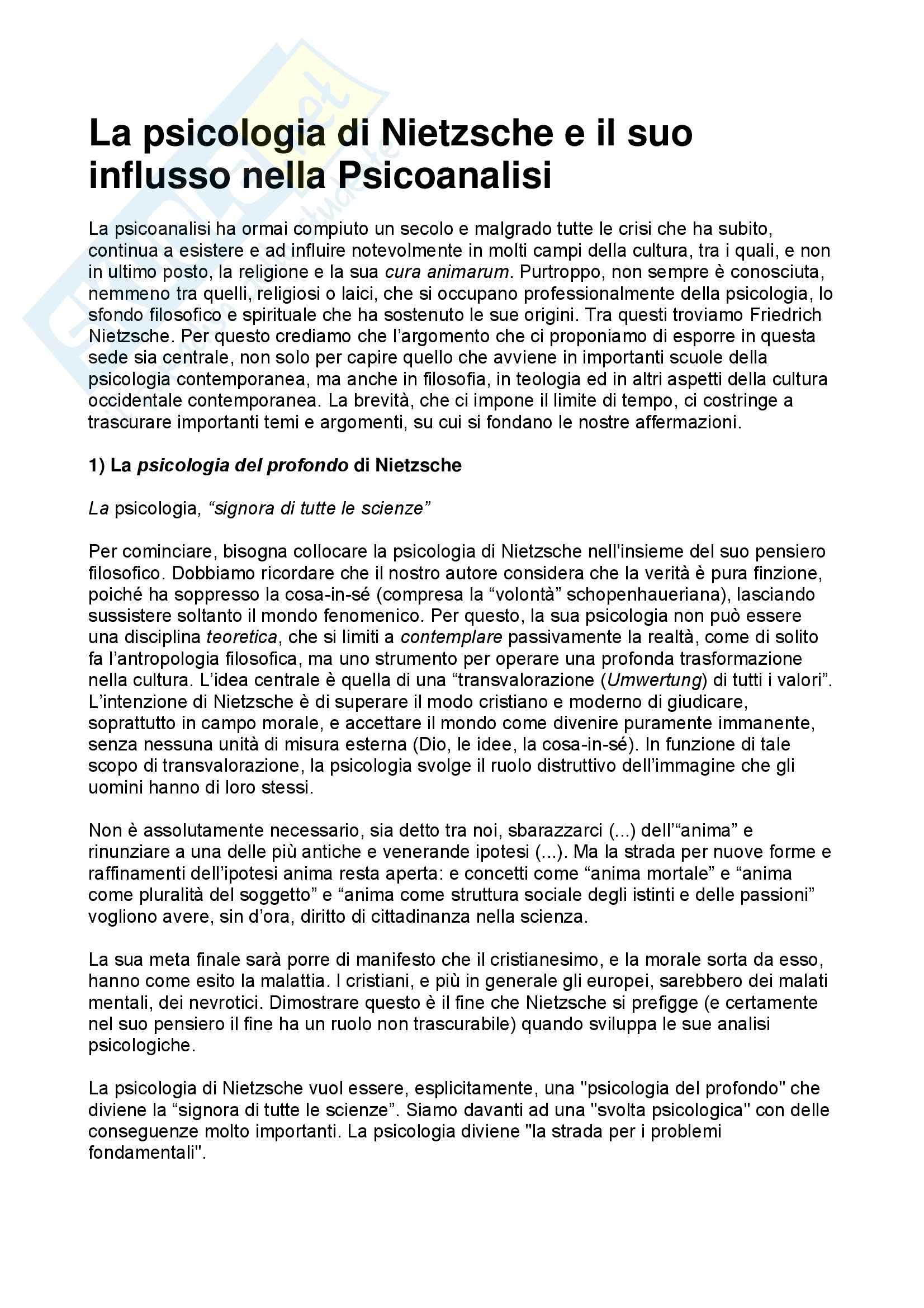 Epistemologia delle scienze umane – La psicologia di Nietzsche