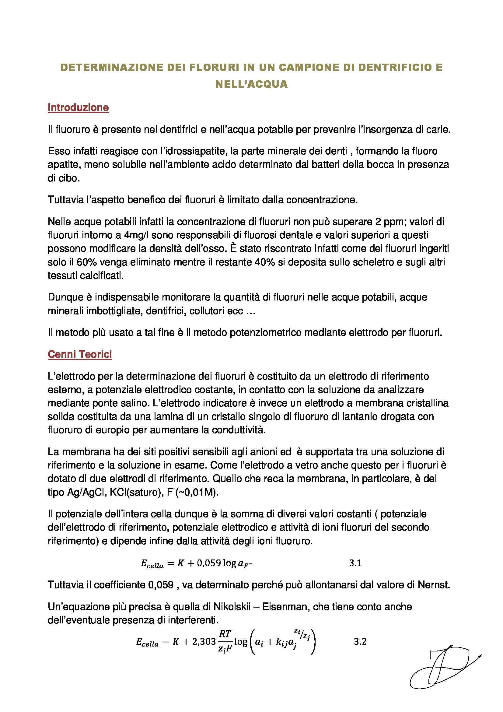 Laboratorio di Chimica Analitica 2 - determinazione dei fluoruri