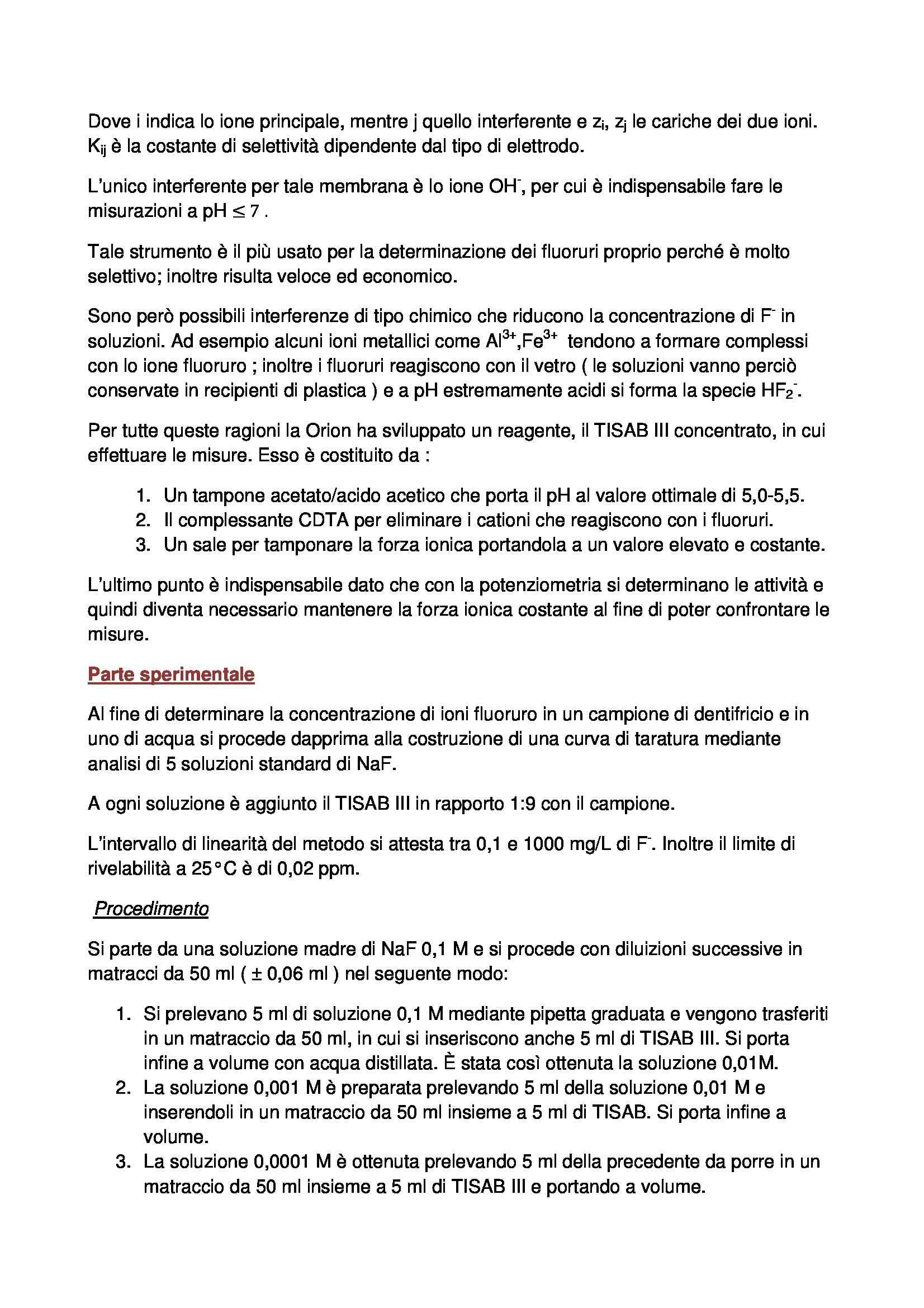 Laboratorio di Chimica Analitica 2 - determinazione dei fluoruri Pag. 2