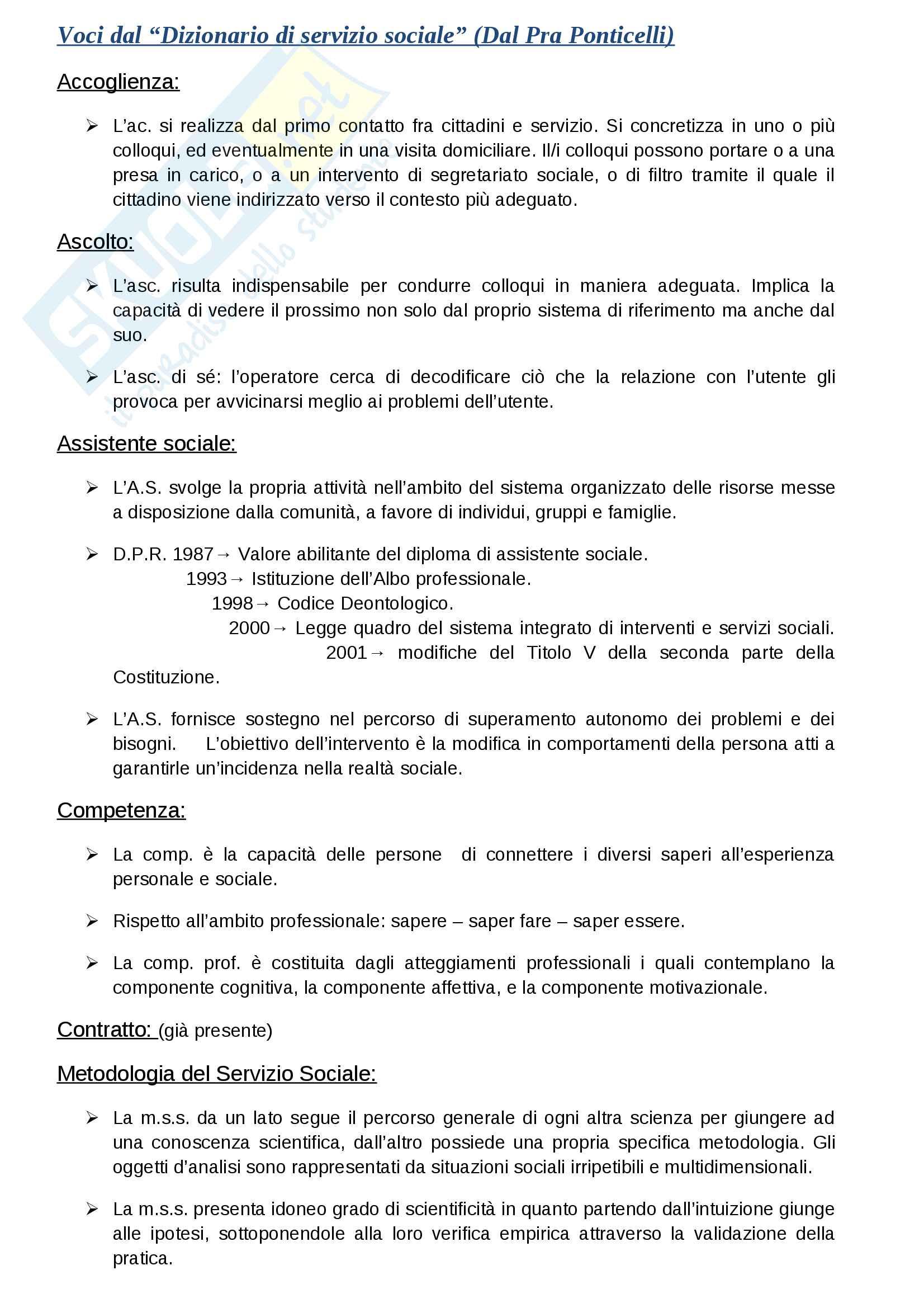 Riassunto esame Metodi e Tecniche del servizio sociale, libro consigliato Nuovo dizionario di servizio sociale, Campanini