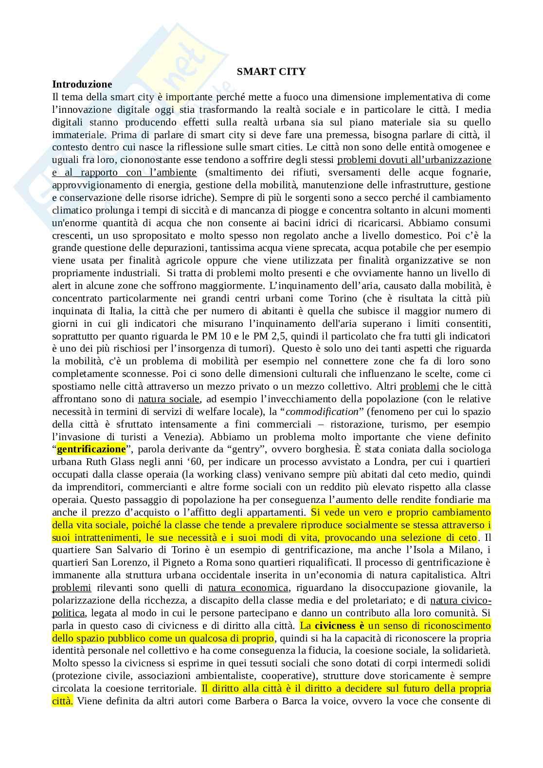 """Riassunto esame Sociologia generale e dell'innovazione digital, Modulo 2, libro consigliato """"Smart city. Lo Spazio sociale della Convergenza"""", Marciano Pag. 1"""