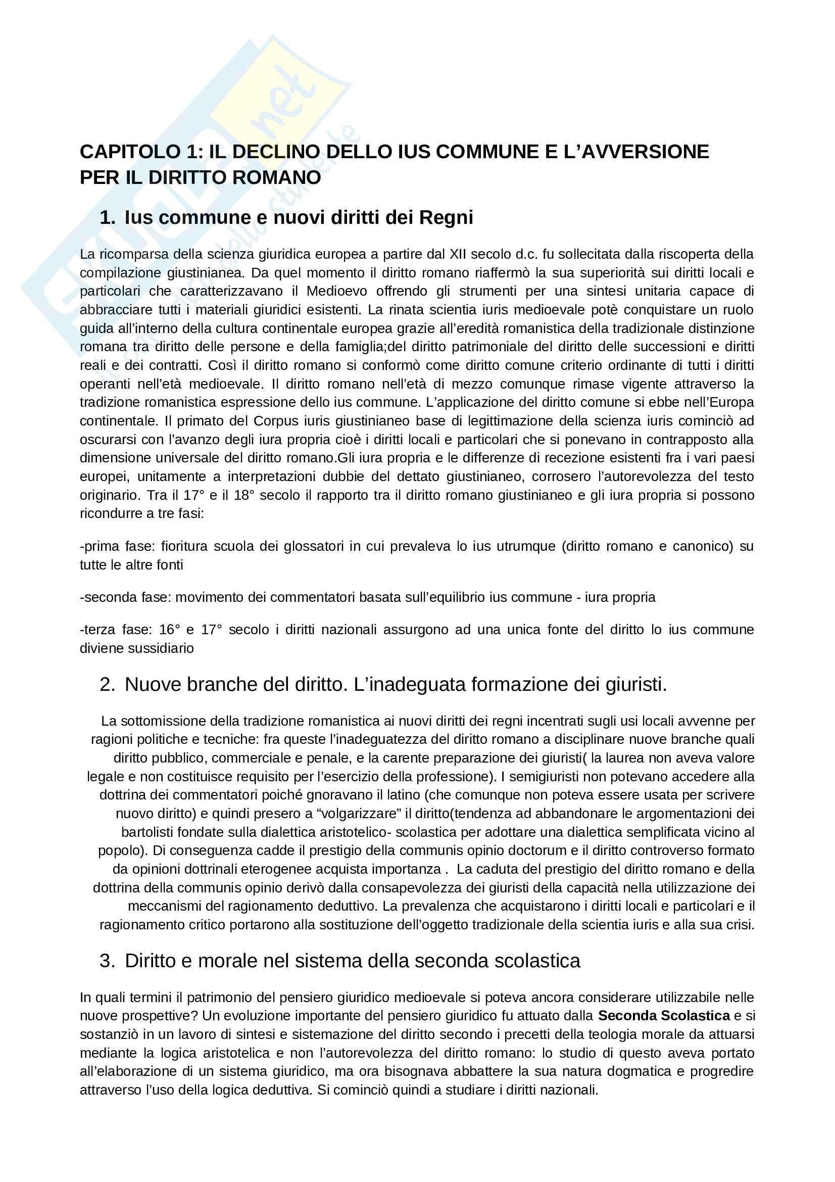 Riassunto esame Diritto Romano, prof. Solidoro, libro consigliato Dalla Crisi dello Ius Commune alle Codificazioni Moderne