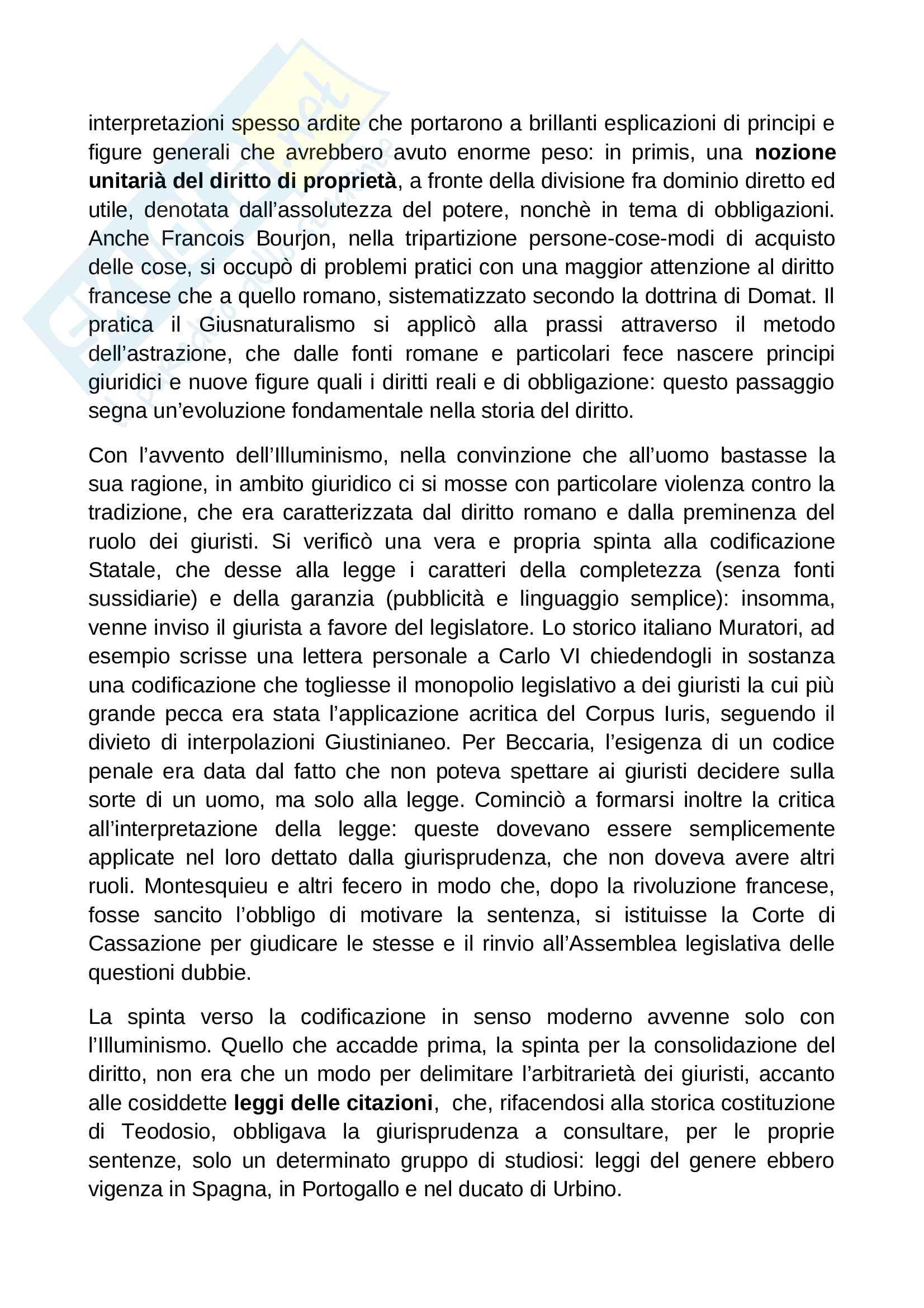 Riassunto esame Diritto Romano, prof. Solidoro, libro consigliato Dalla Crisi dello Ius Commune alle Codificazioni Moderne Pag. 11