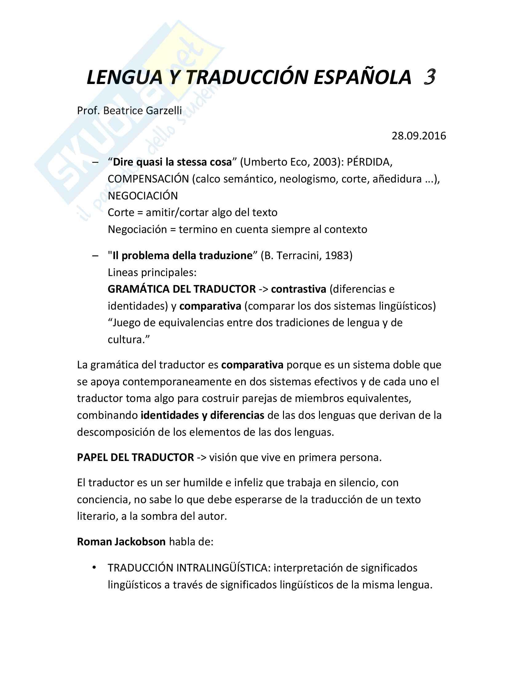 Appunti esame Lingua e traduzione spagnola III, prof. Garzelli