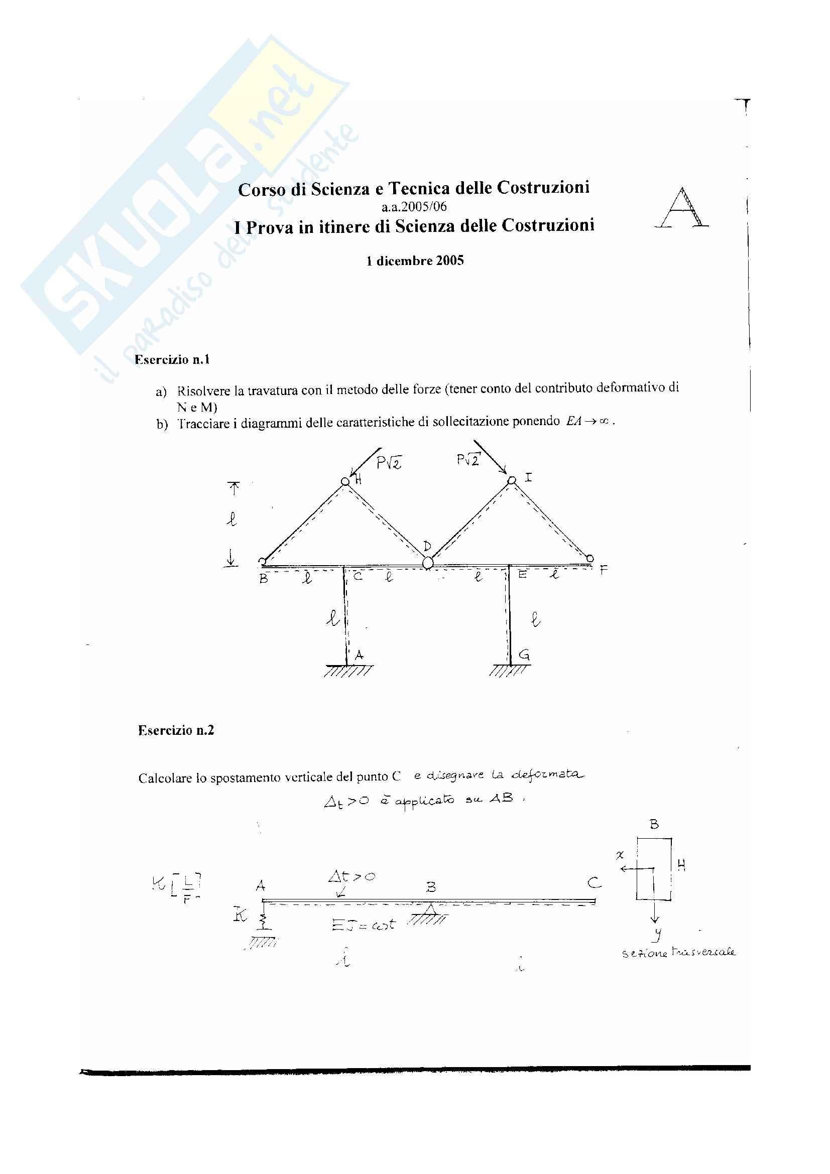Scienza delle costruzioni - temi esame