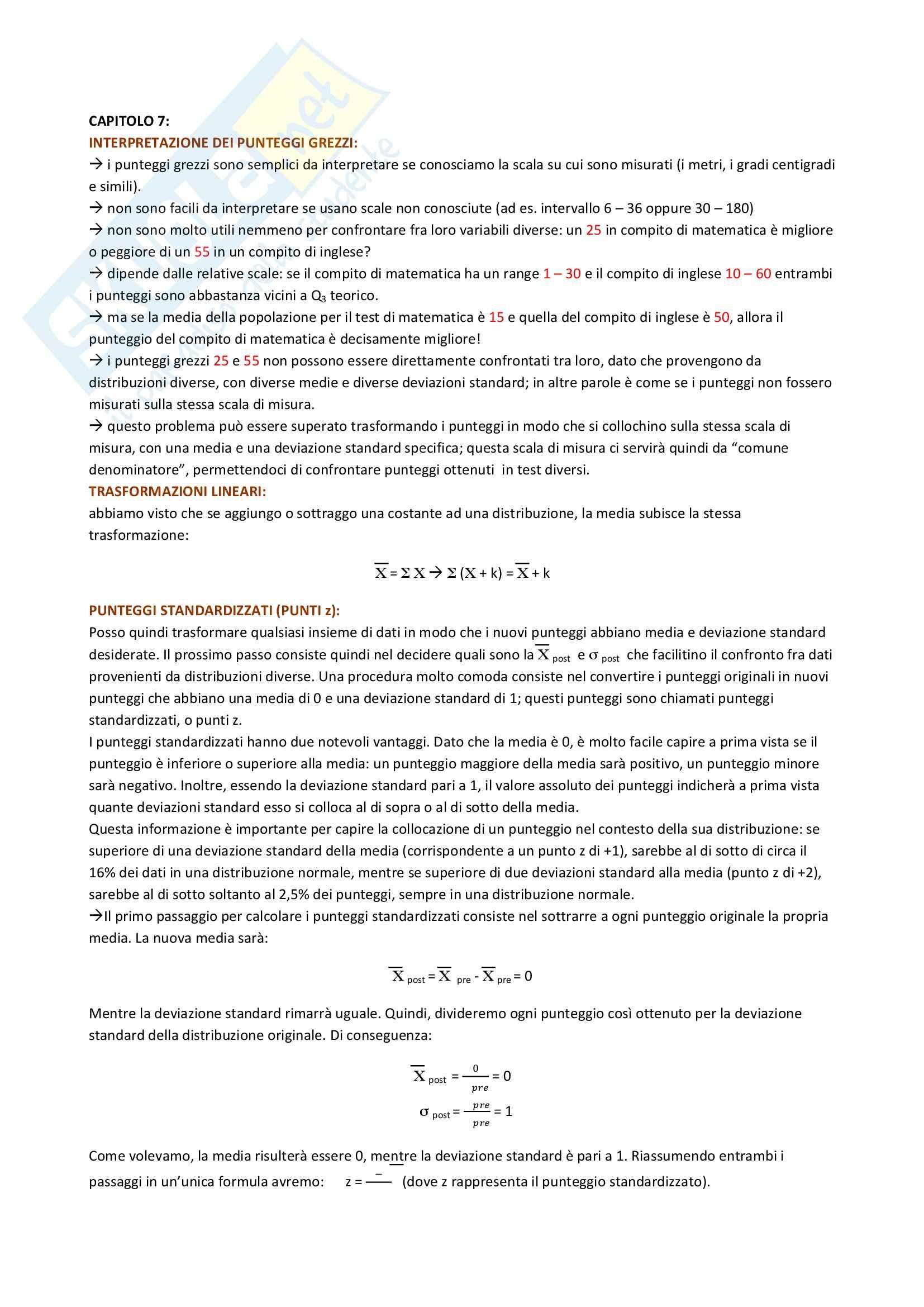 Riassunto esame Psicometria, prof. Rossi, libro consigliato Statistica per le scienze del comportamento, Welkowitz Pag. 21