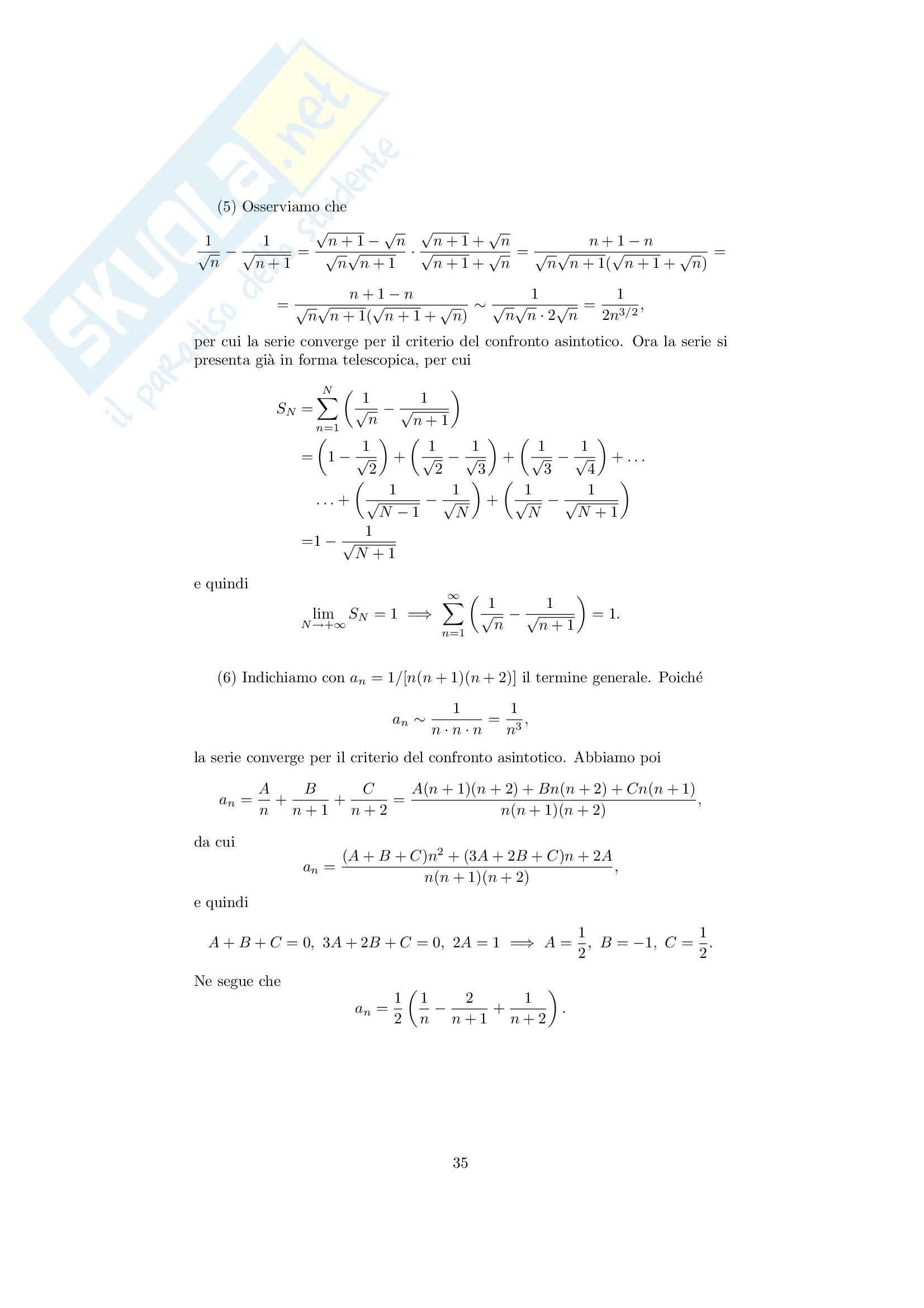 Analisi matematica 1 - Note ed esercizi svolti su Successioni e serie numeriche Pag. 11