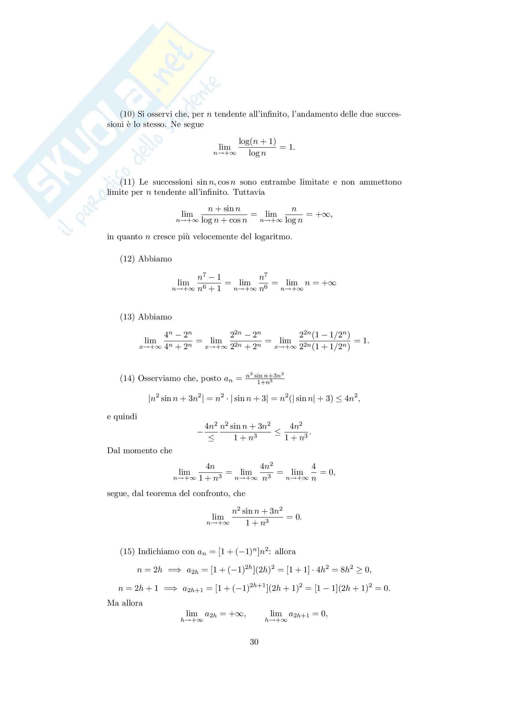 Analisi matematica 1 - Note ed esercizi svolti su Successioni e serie numeriche Pag. 6