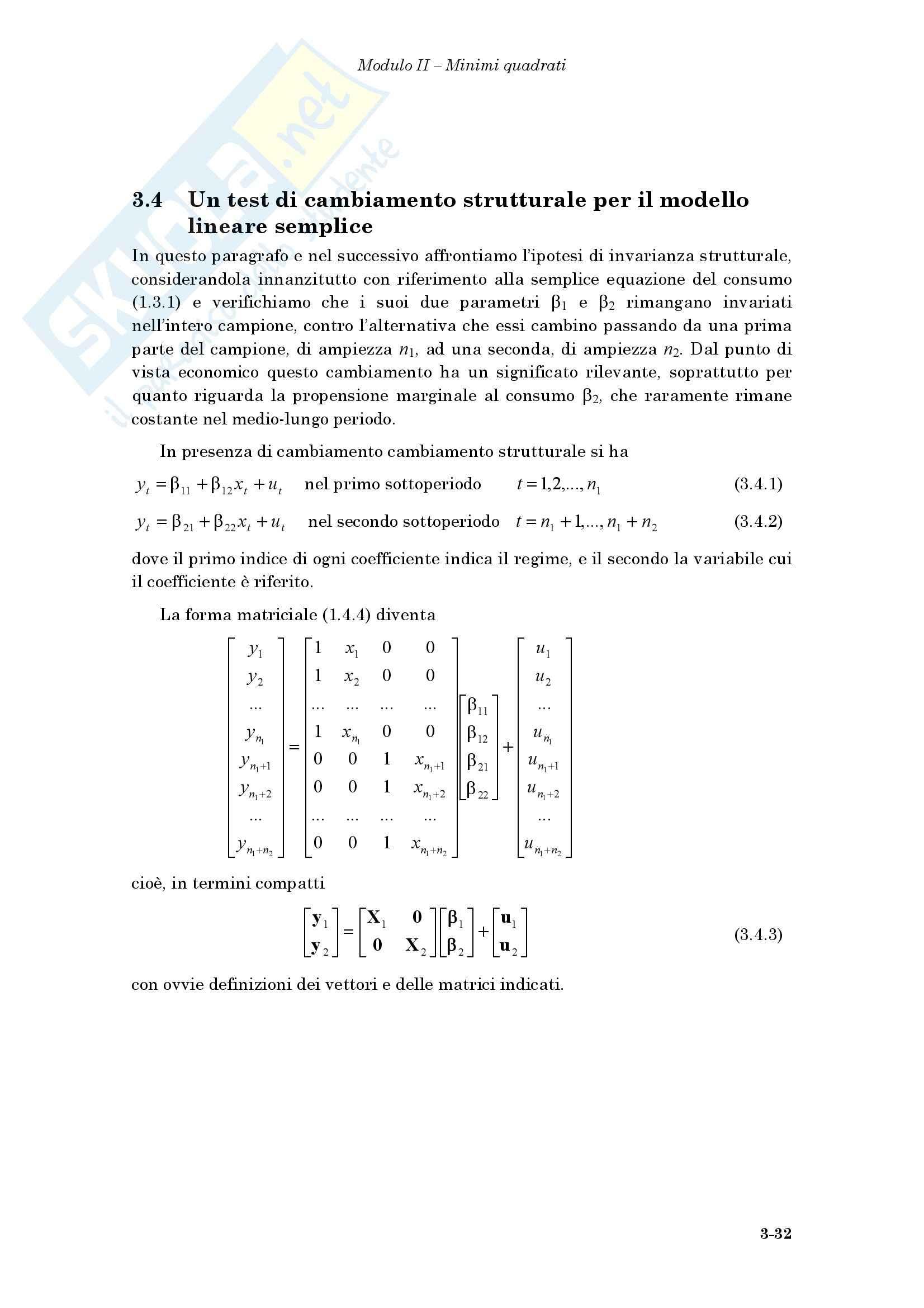 Econometria - il test di cambiamento strutturale