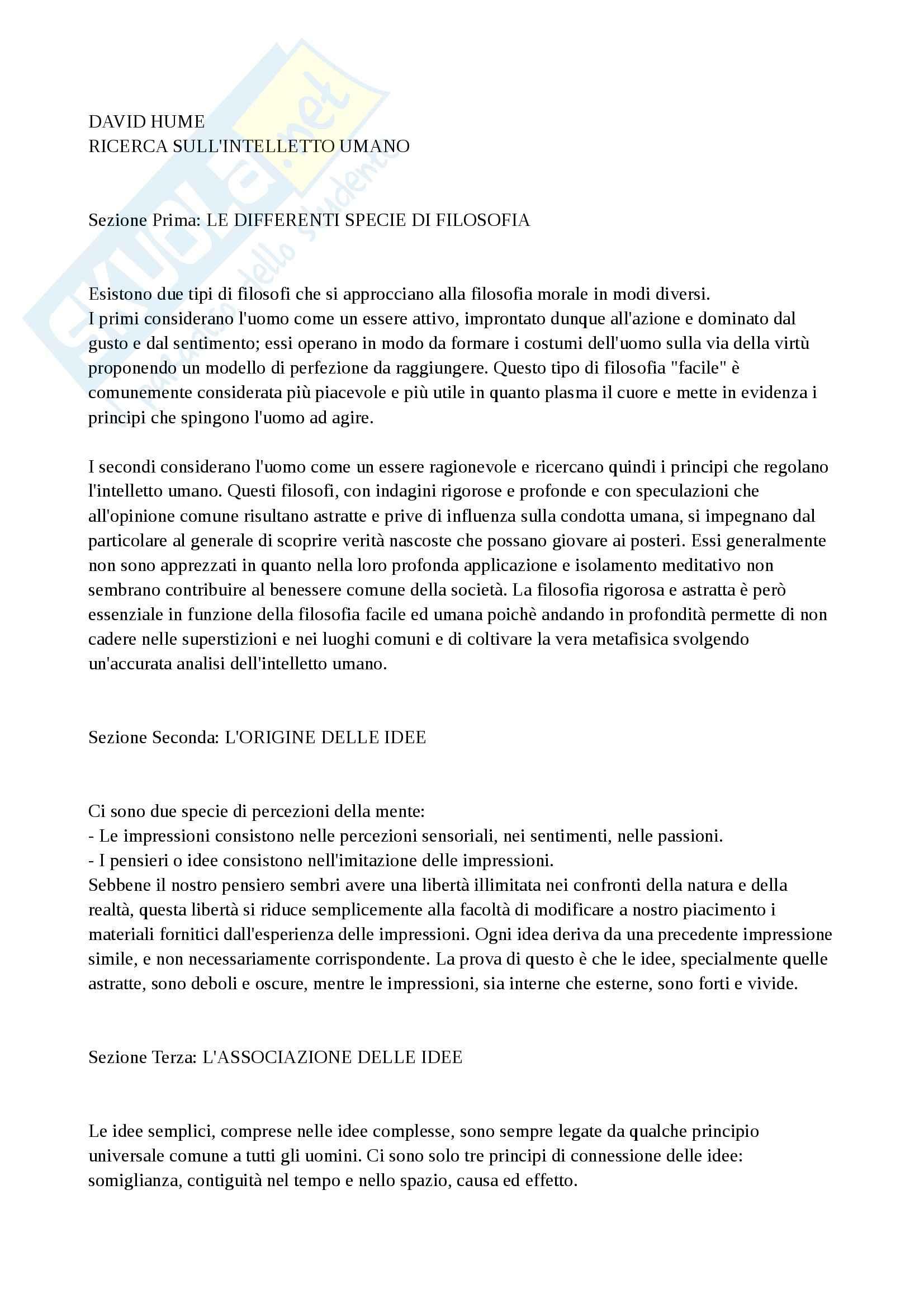 Riassunto esame Storia della filosofia: David Hume e la ricerca sull'intelletto umano, prof. Martinelli