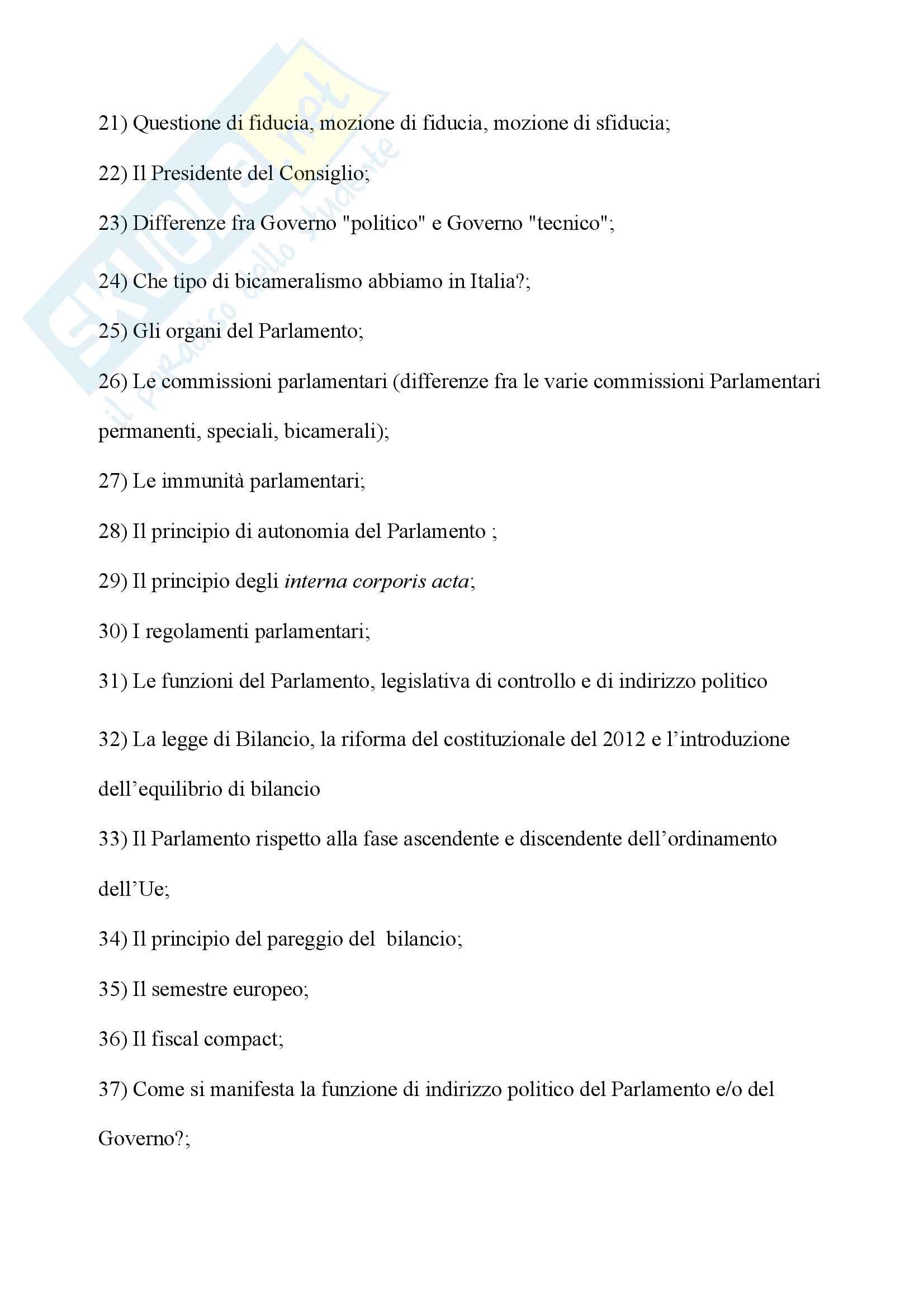 Potenziali domande esame Istituzioni di diritto pubblico Pag. 2