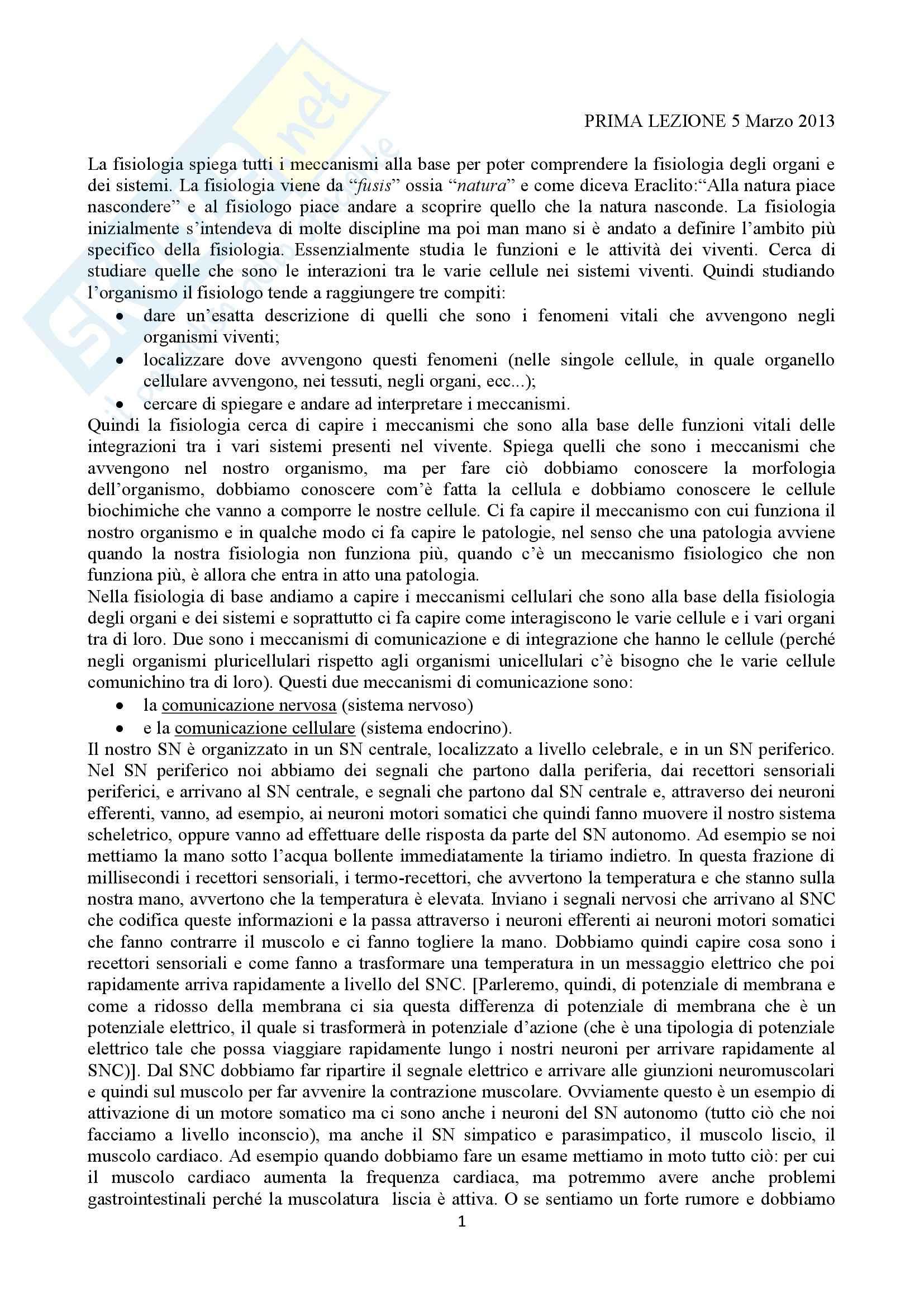 Lezioni, Fisiologia generale (cellulare)