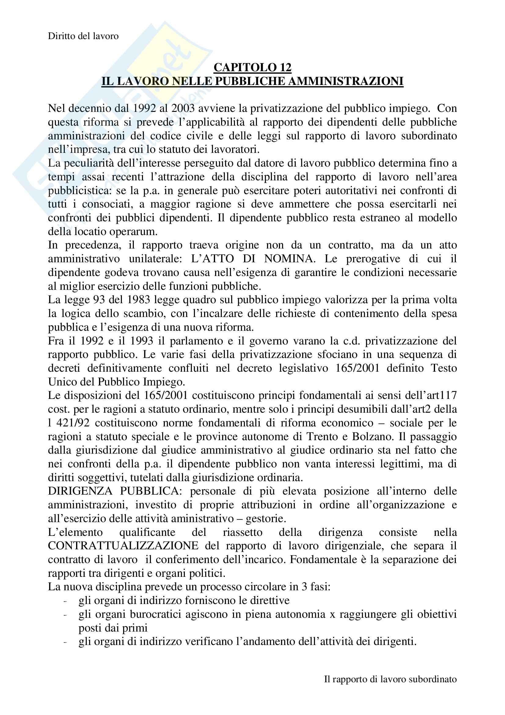 Riassunto esame Diritto del Lavoro, prof. Mainardi, libro consigliato Il lavoro subordinato, Carinci, Treu Pag. 26