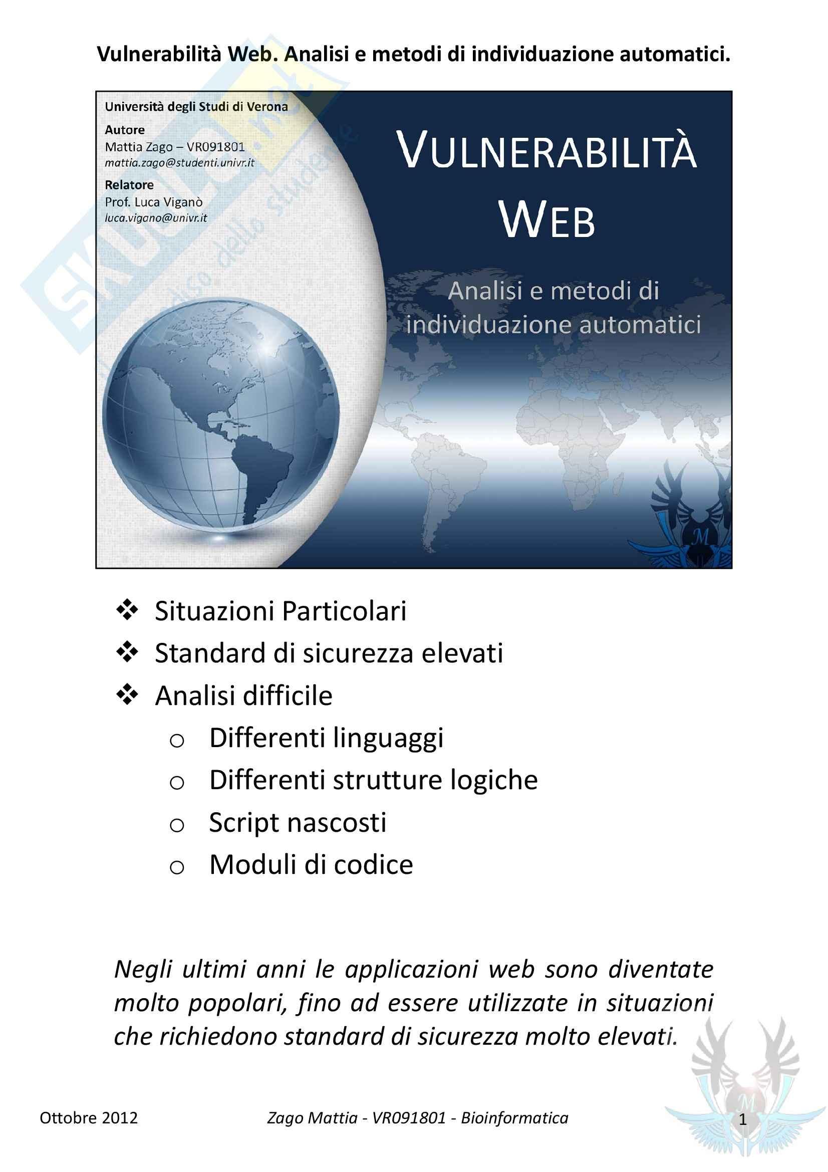 Vulnerabilità Web: Analisi e Metodi di Individuzione Automatici
