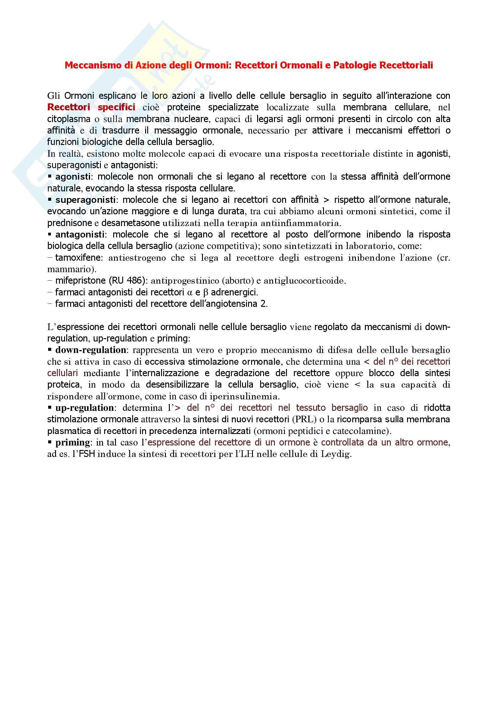 Endocrinologia - meccanismo di azione degli ormoni