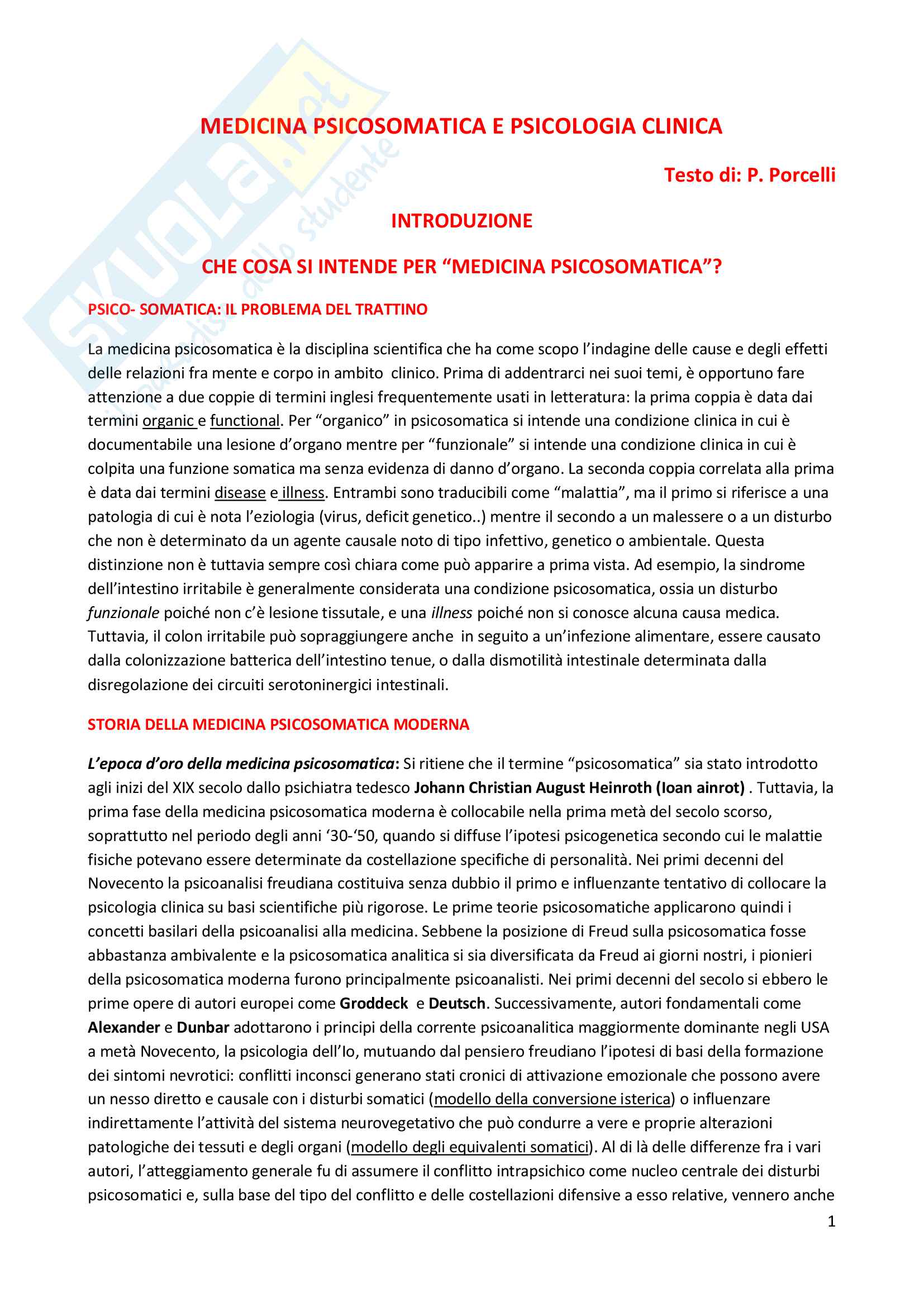 Riassunto esame Psicosomatica, prof. Epifanio, libro consigliato Medicina psicosomatica e psicologia clinica, Piero Porcelli