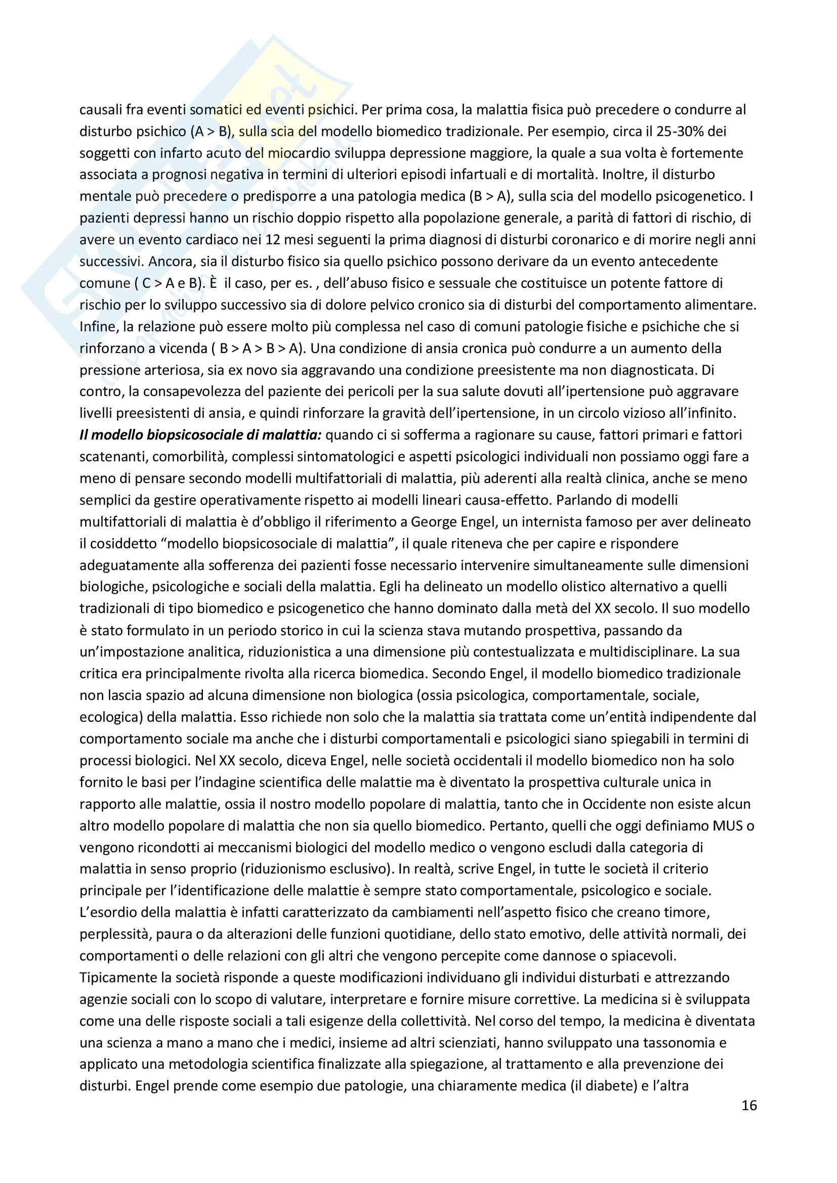 Riassunto esame Psicosomatica, prof. Epifanio, libro consigliato Medicina psicosomatica e psicologia clinica, Piero Porcelli Pag. 16