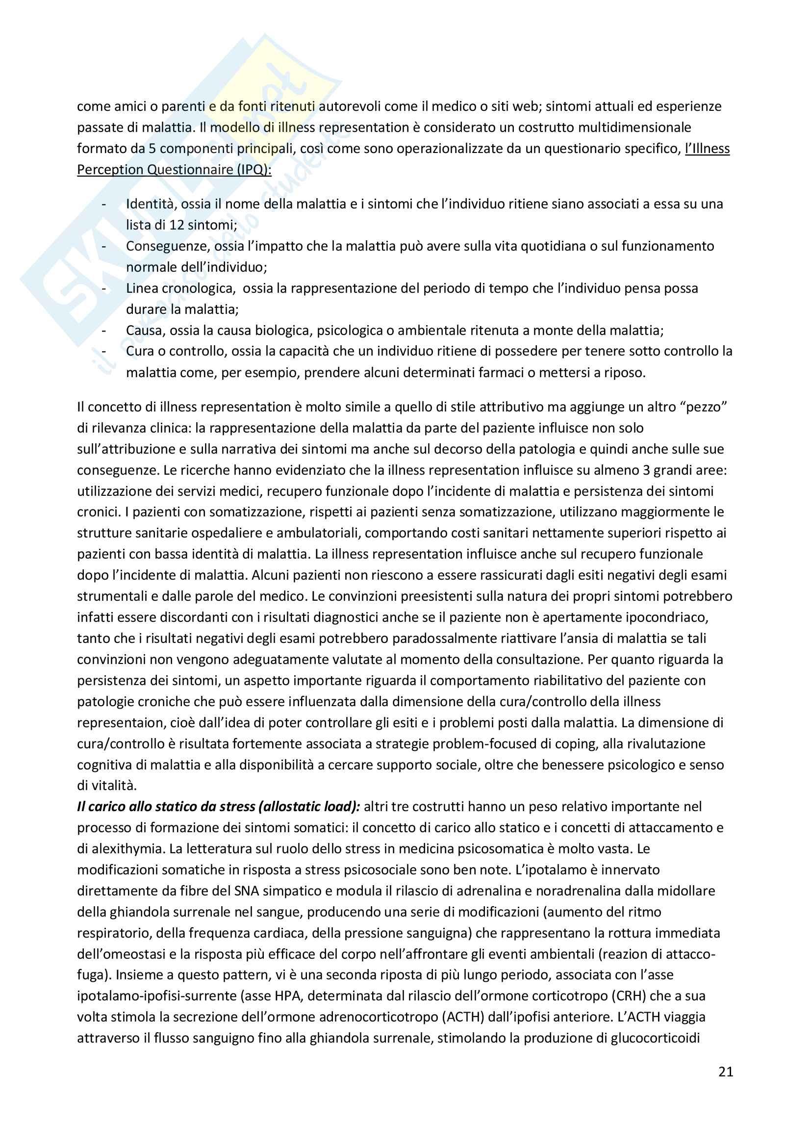 Riassunto esame Psicosomatica, prof. Epifanio, libro consigliato Medicina psicosomatica e psicologia clinica, Piero Porcelli Pag. 21