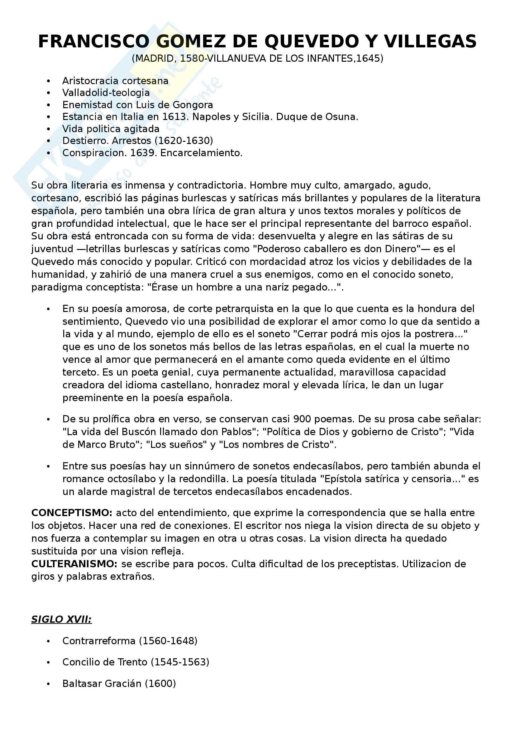 Letteratura spagnola - Francisco Gomez  De Quevedo y Villegas
