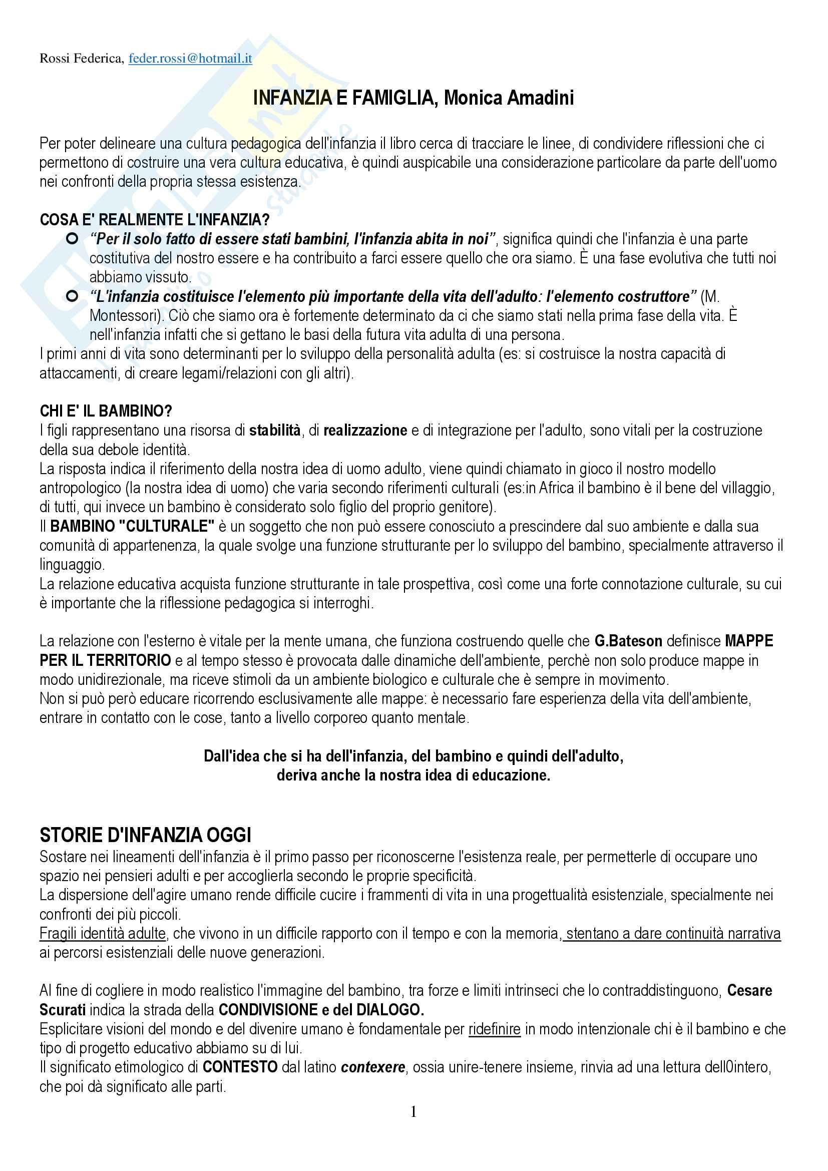 """Riassunto per esame di Pedagogia della persona, prof Amadini, libro consigliato """"Infanzia e famiglia"""", Amadini"""