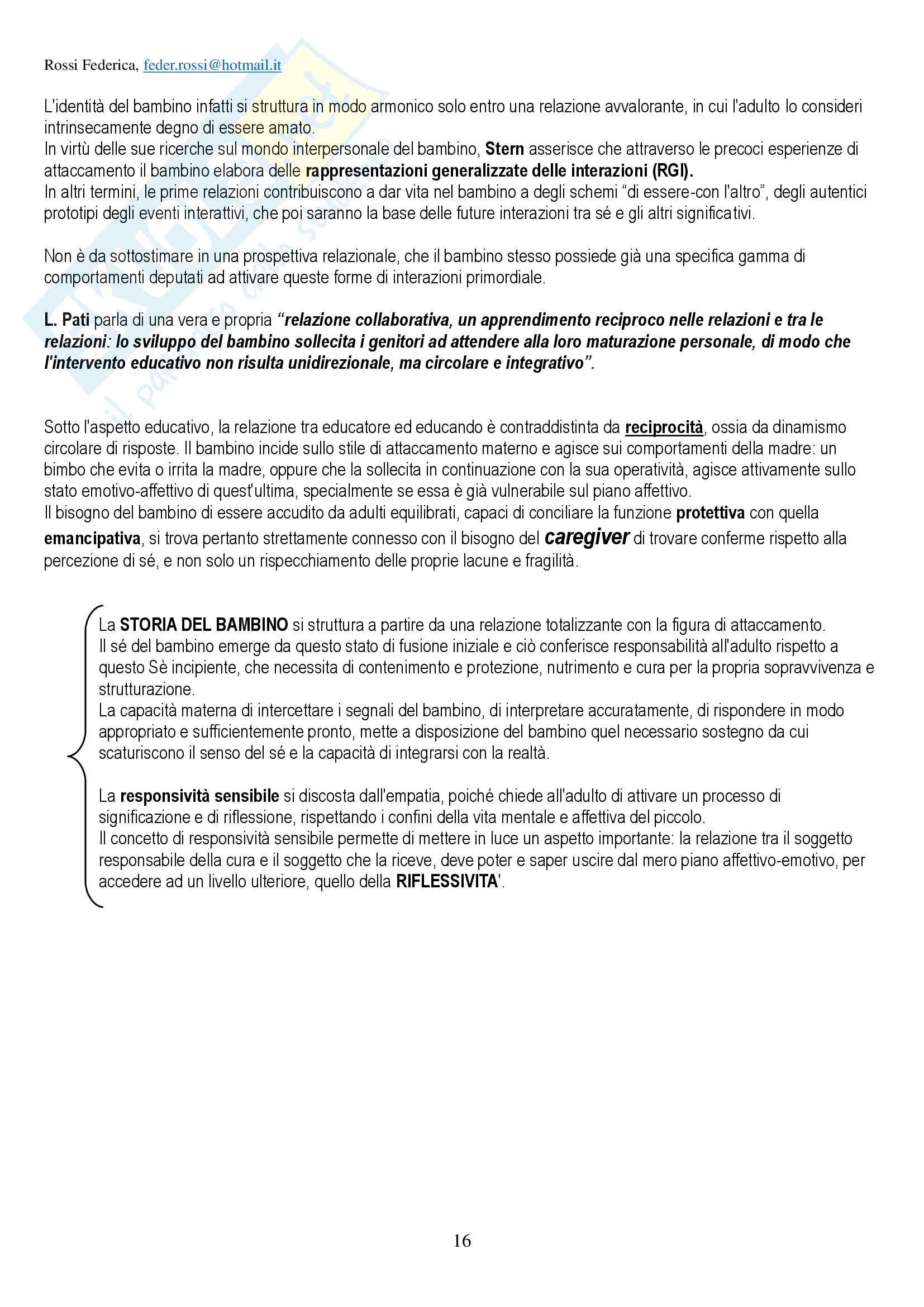 """Riassunto per esame di Pedagogia della persona, prof Amadini, libro consigliato """"Infanzia e famiglia"""", Amadini Pag. 16"""