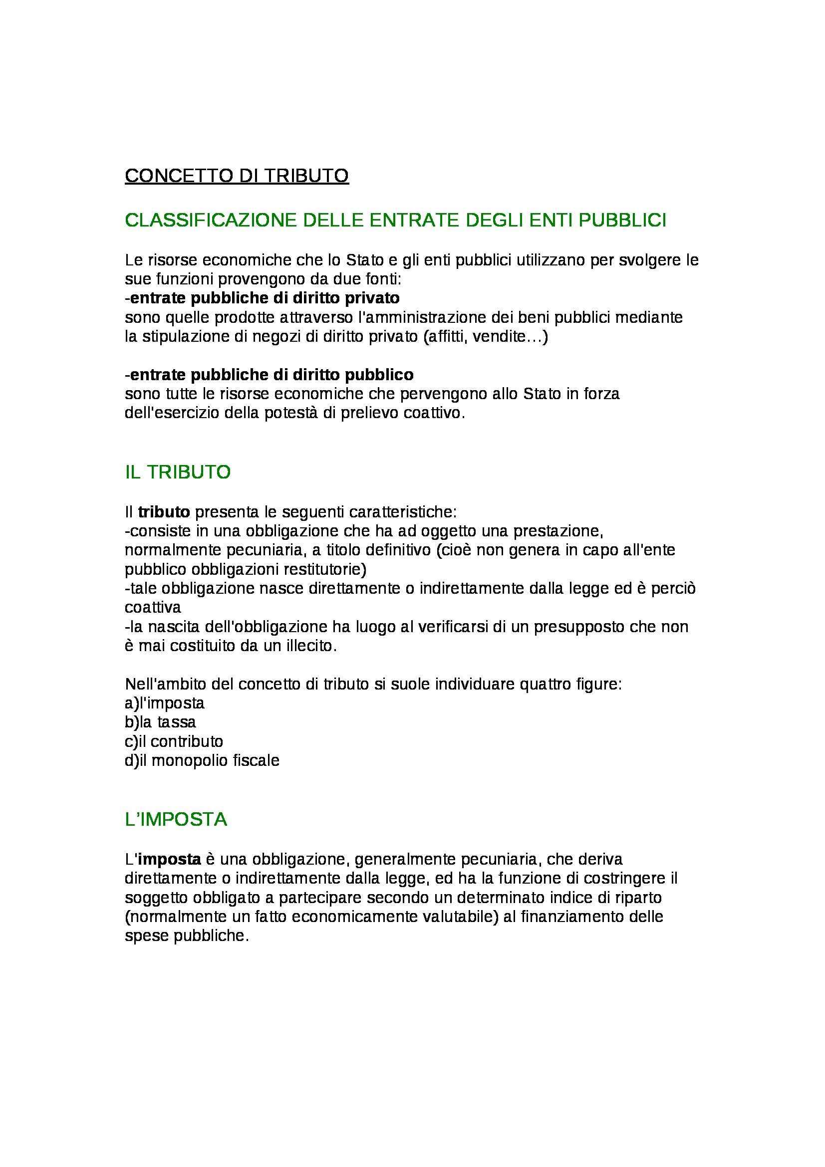 Riassunto esame Diritto Tributario, prof. Di Pietro, libro consigliato Diritto Tributario, Falsitta