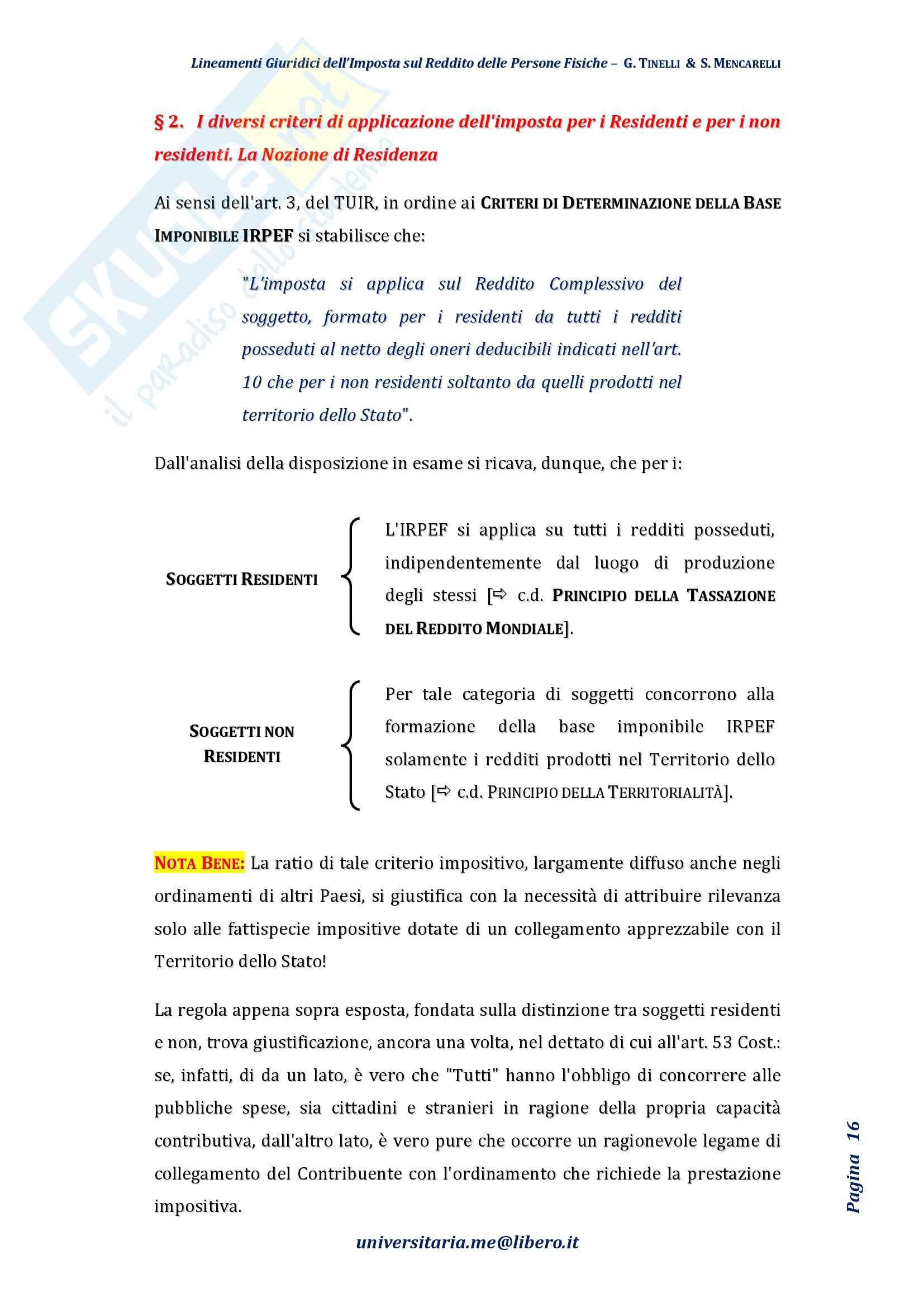 Riassunto esame Diritto Tributario, Prof. Tinelli, libro consigliato: Lineamenti giuridici dell'imposta sul reddito delle persone fisiche, Tinelli, Mencarelli Pag. 16