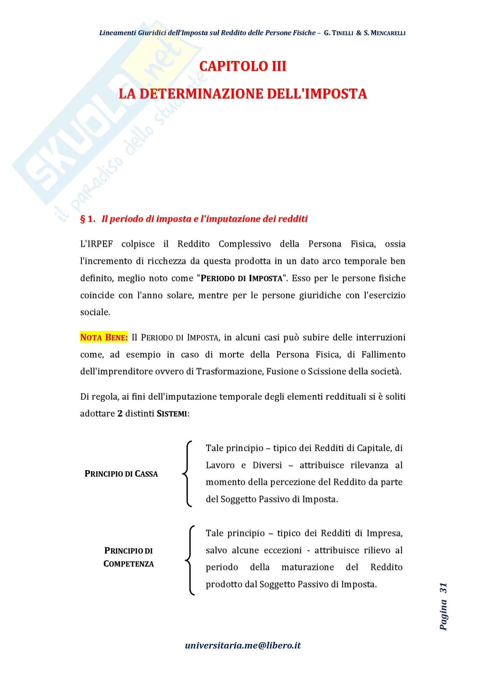 Riassunto esame Diritto Tributario, Prof. Tinelli, libro consigliato: Lineamenti giuridici dell'imposta sul reddito delle persone fisiche, Tinelli, Mencarelli Pag. 31