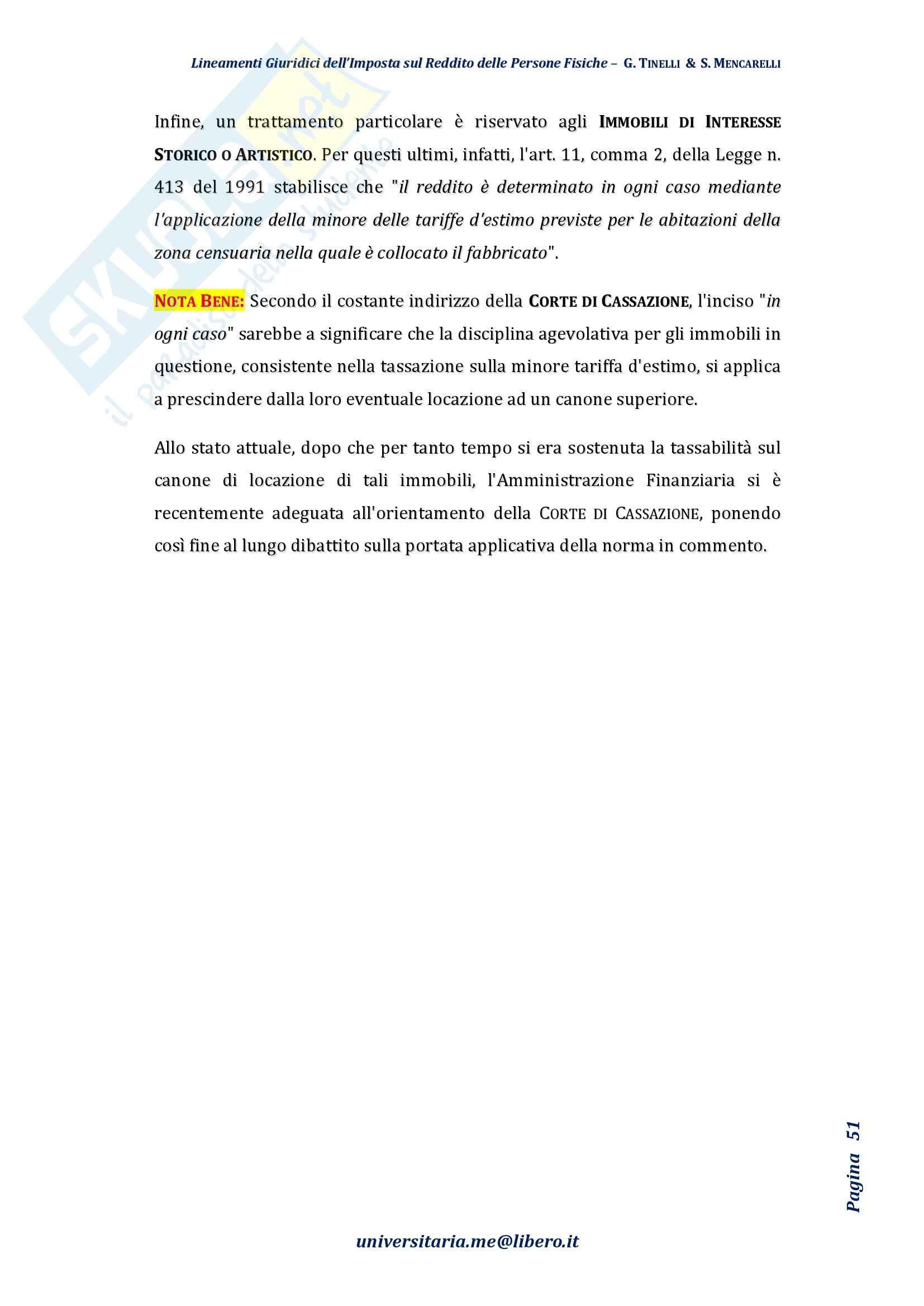 Riassunto esame Diritto Tributario, Prof. Tinelli, libro consigliato: Lineamenti giuridici dell'imposta sul reddito delle persone fisiche, Tinelli, Mencarelli Pag. 51