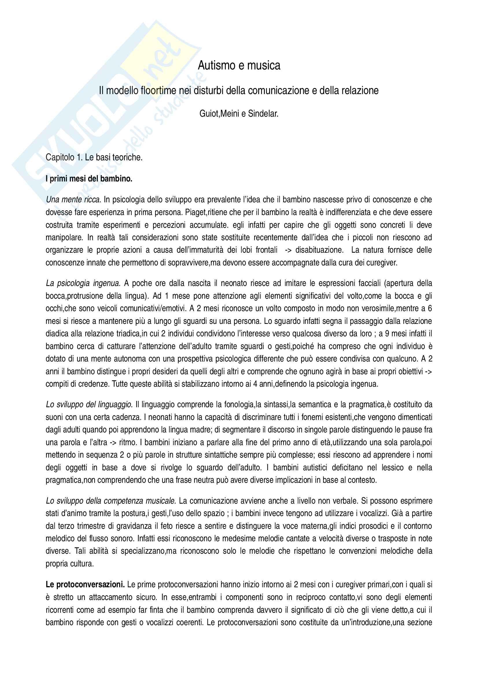 Riassunto esame Didattica speciale, prof. Murdaca, libro consigliato Autismo e Musica, Guiot