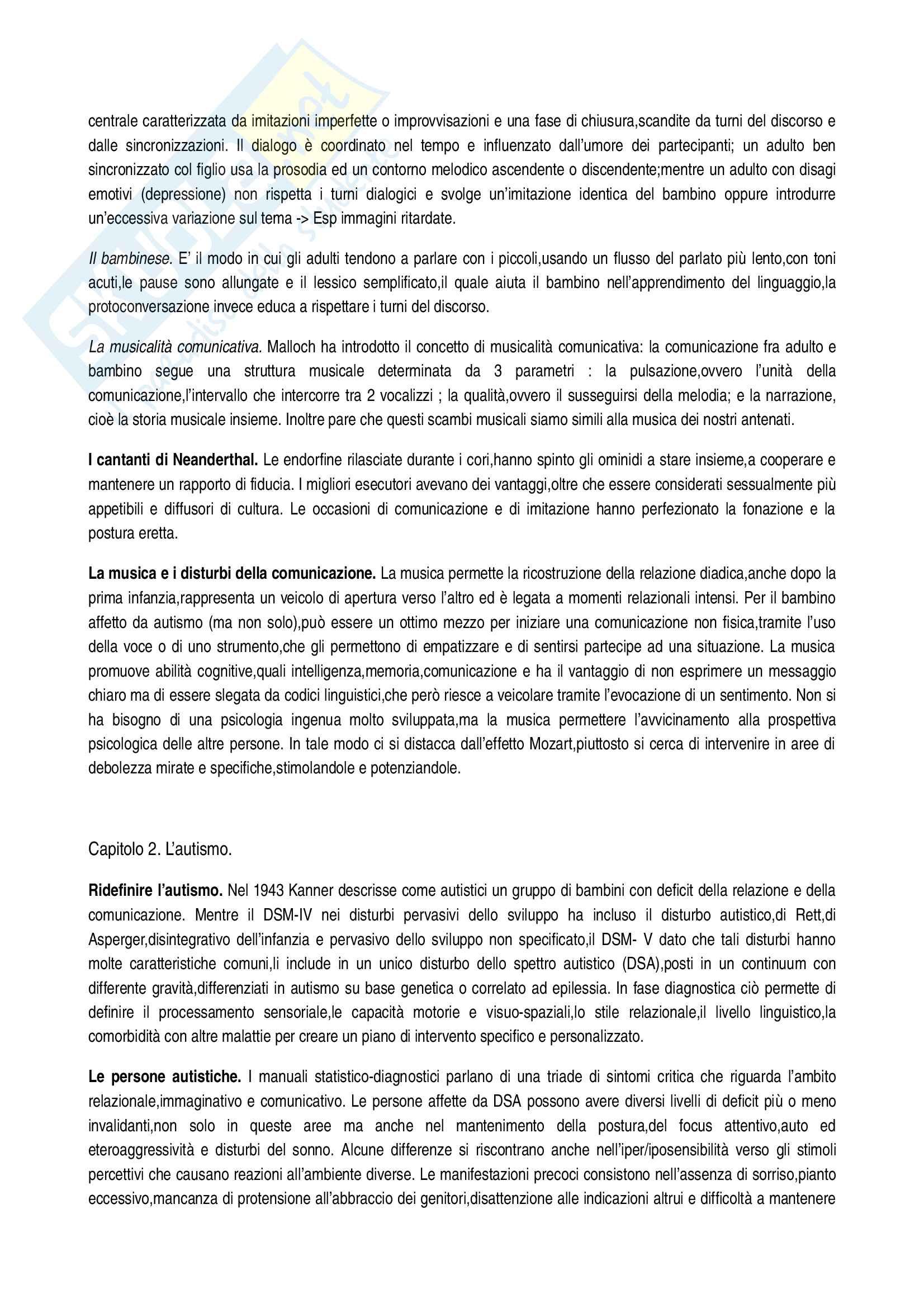 Riassunto esame Didattica speciale, prof. Murdaca, libro consigliato Autismo e Musica, Guiot Pag. 2