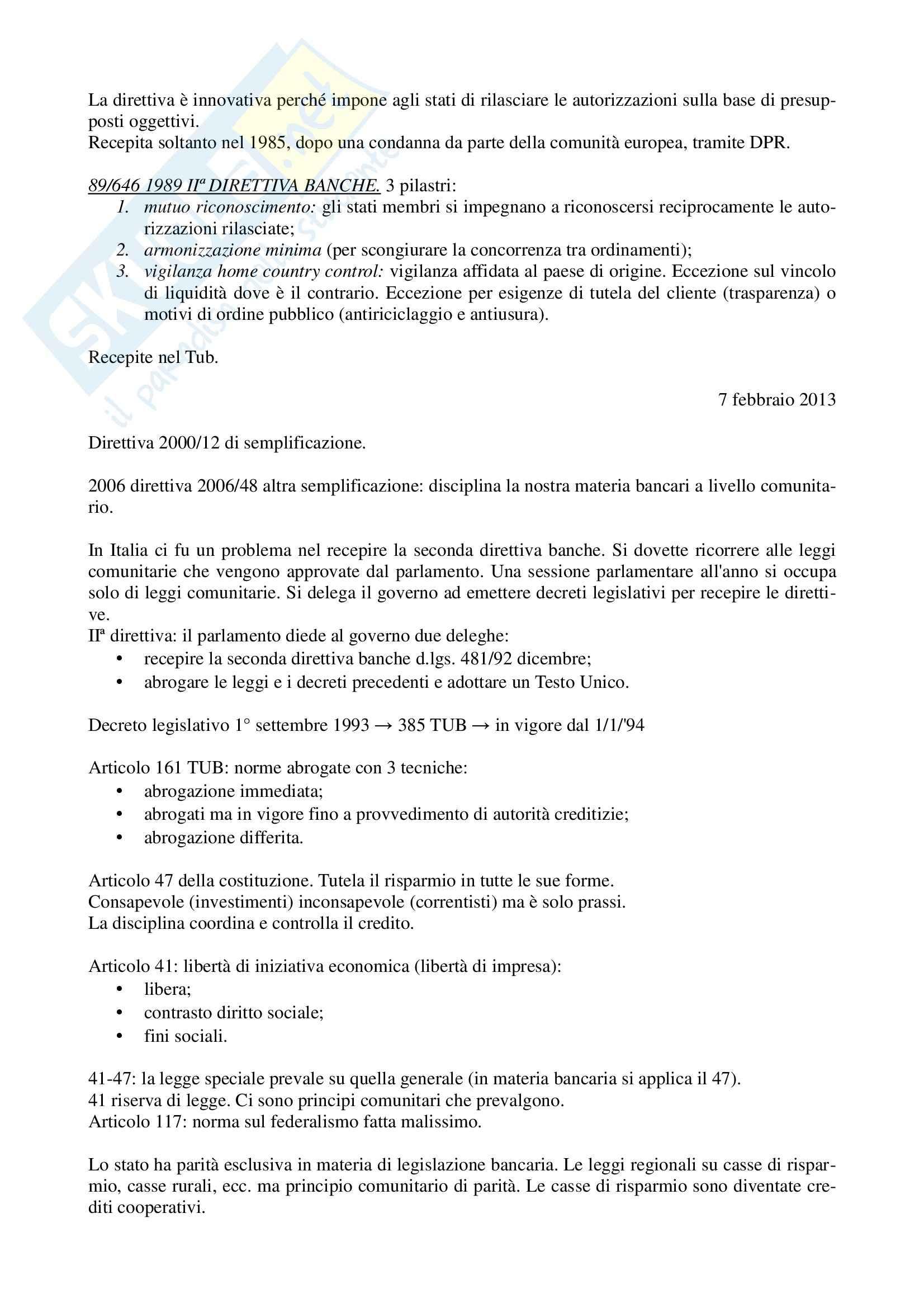 Legislazione bancaria 1 - appunti parte I Pag. 2