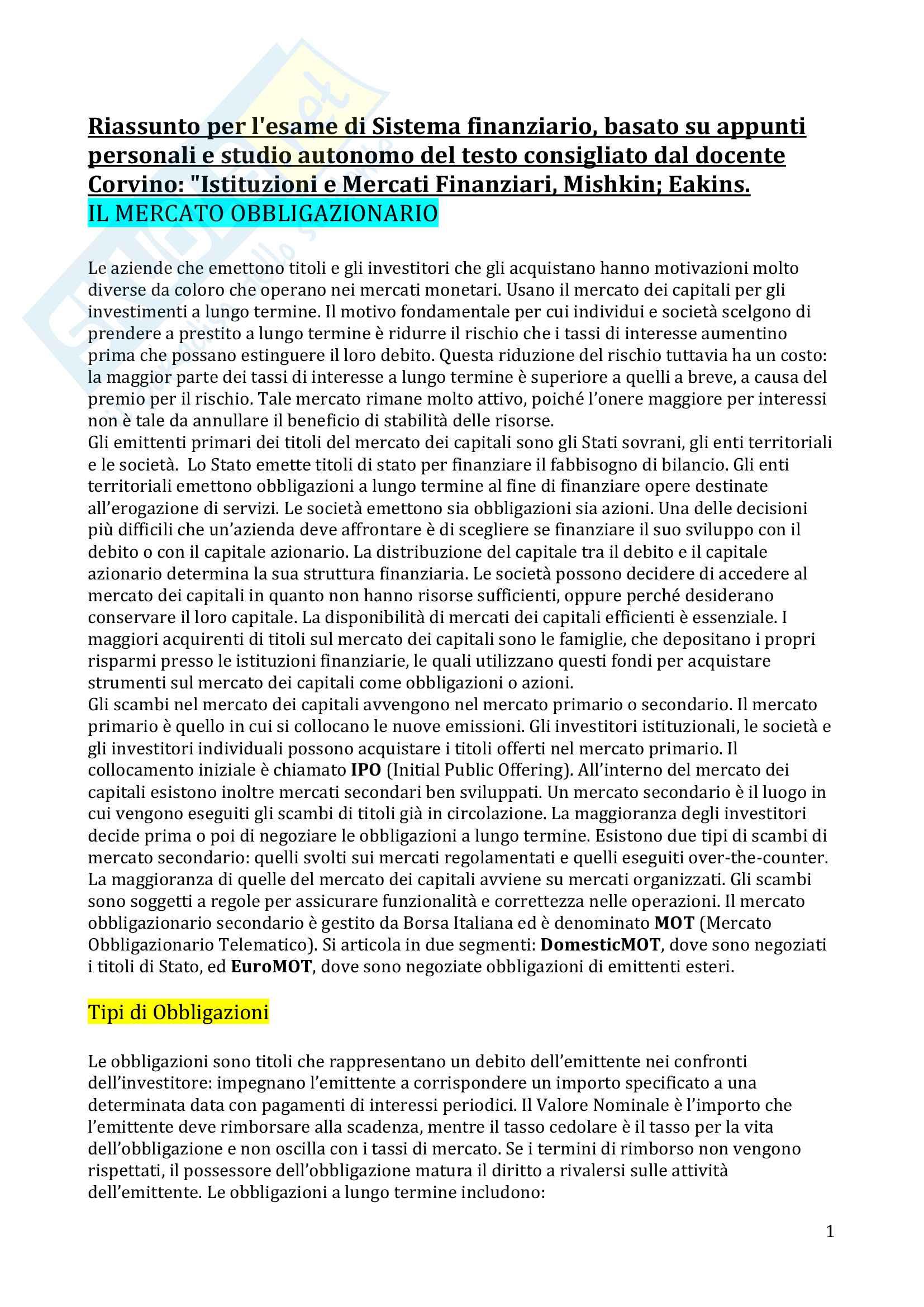 appunto G. Corvino Sistema finanziario