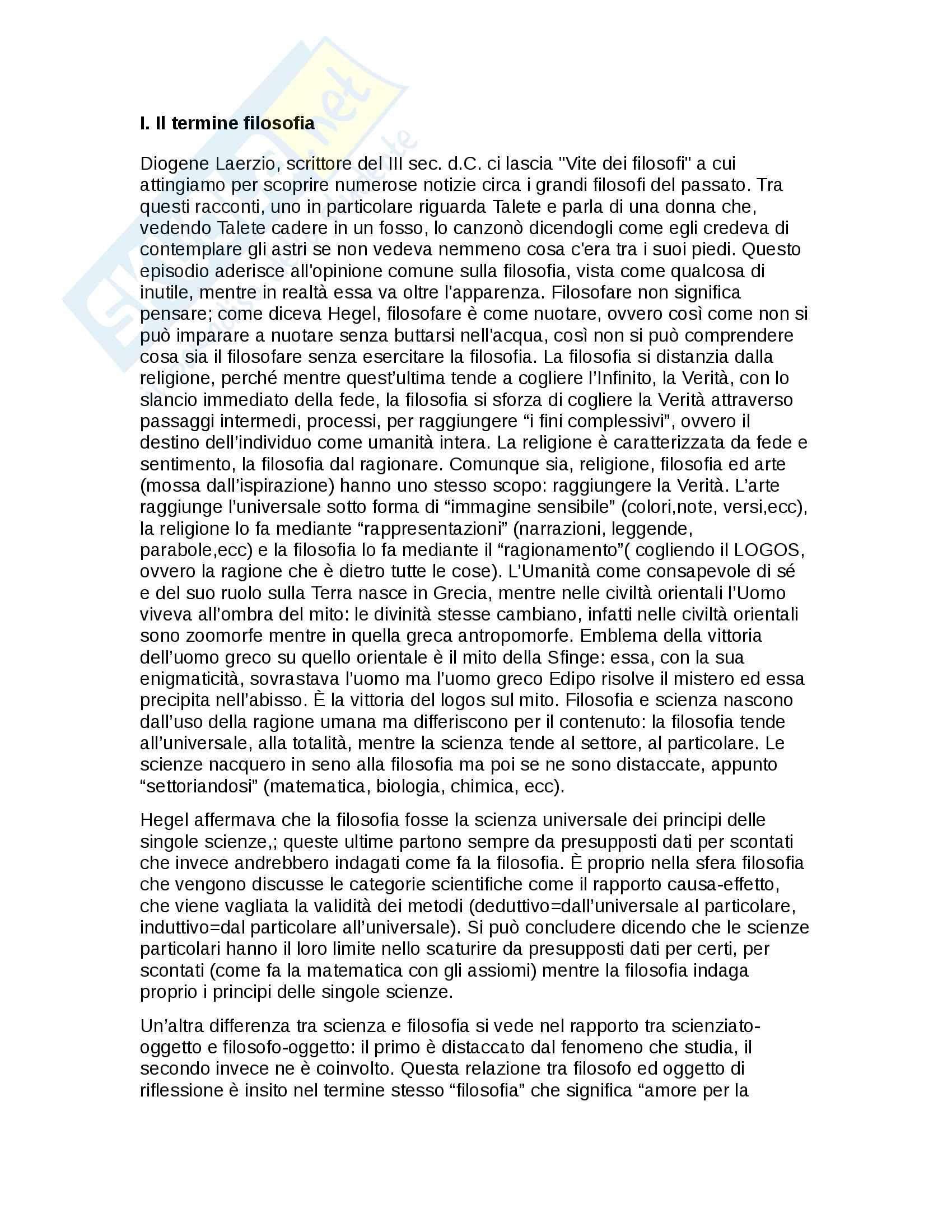 appunto A. Gargano Storia della filosofia