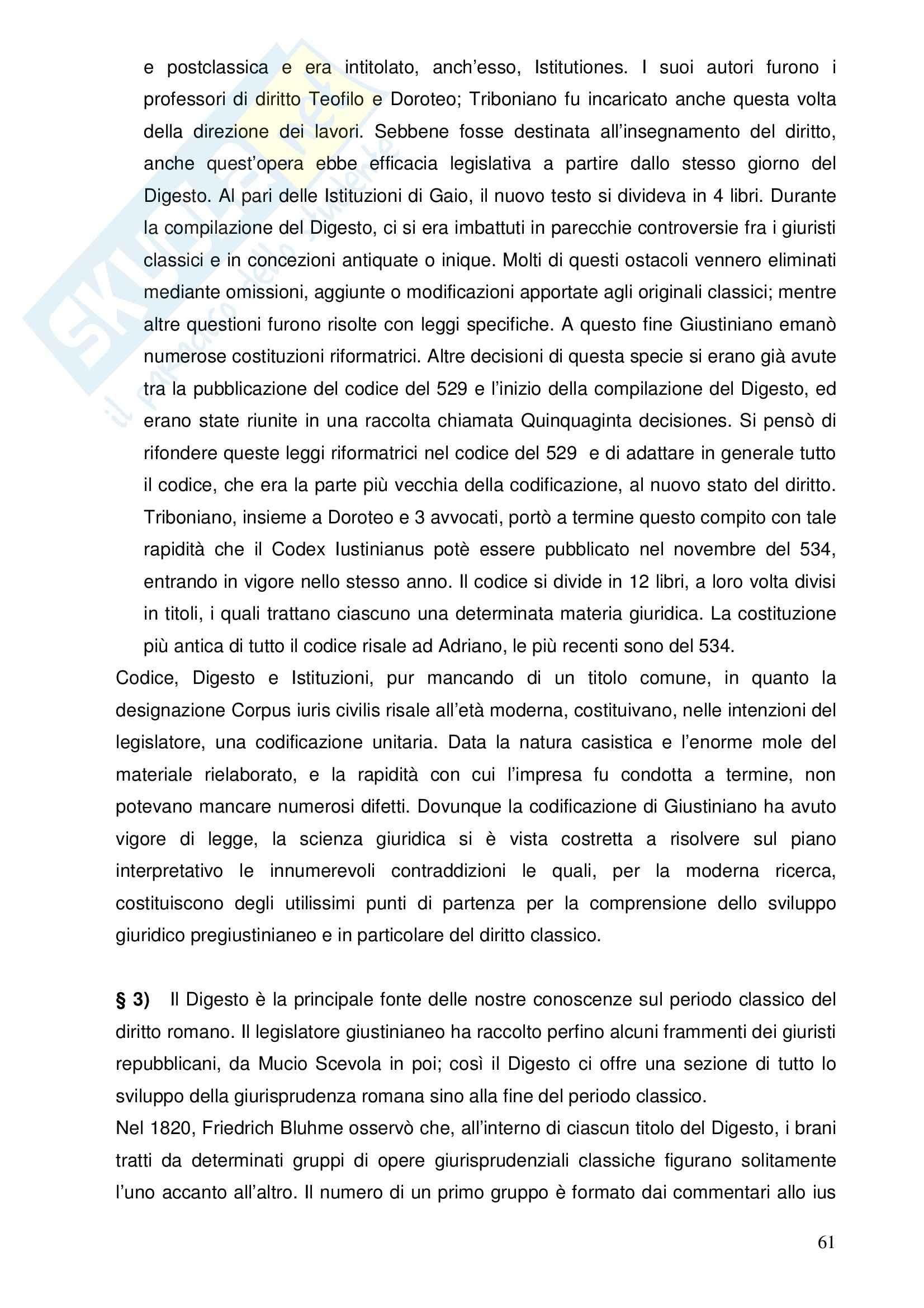 Riassunto esame Istituzioni di Diritto Romano, prof. Nasti, libro consigliato Linee di Storia Giuridica Romana, Kunkel Pag. 61