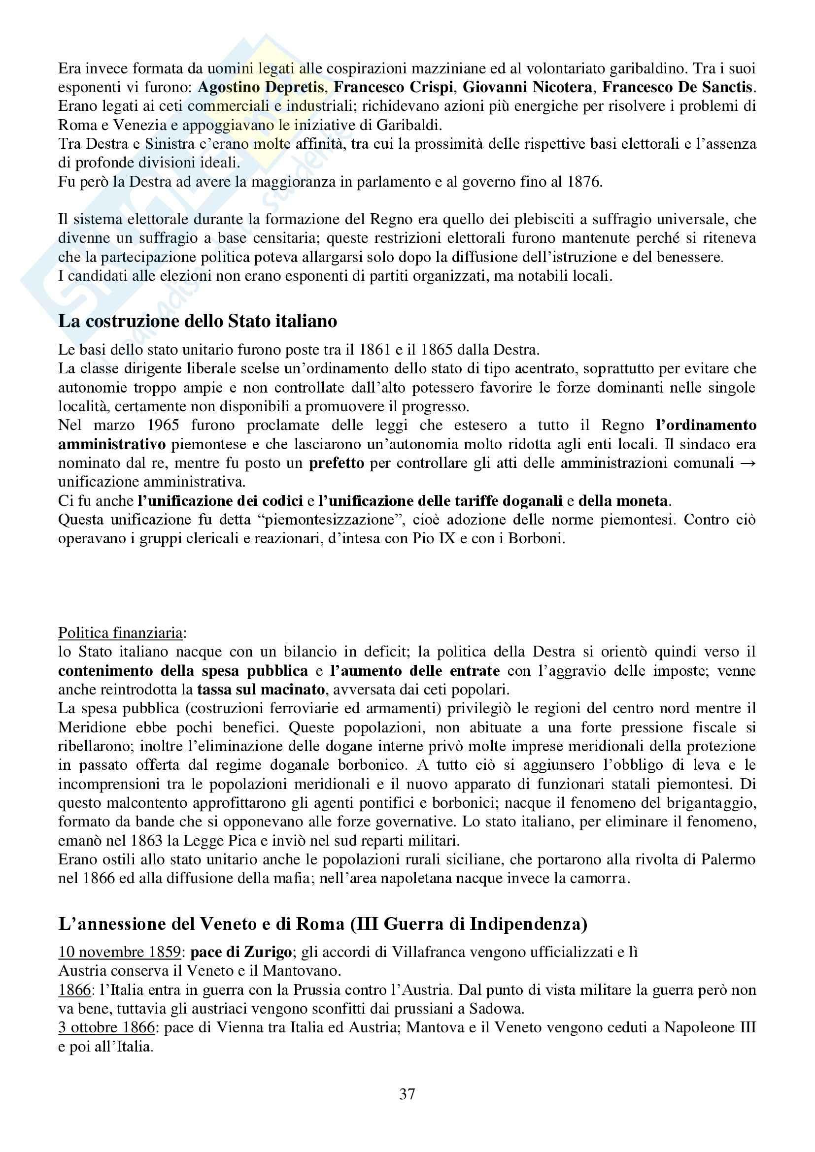 Riassunto esame Storia Contemporanea, prof. Conti, libro consigliato Ottocento e Novecento, Sabbattucci, Vidotto Pag. 36