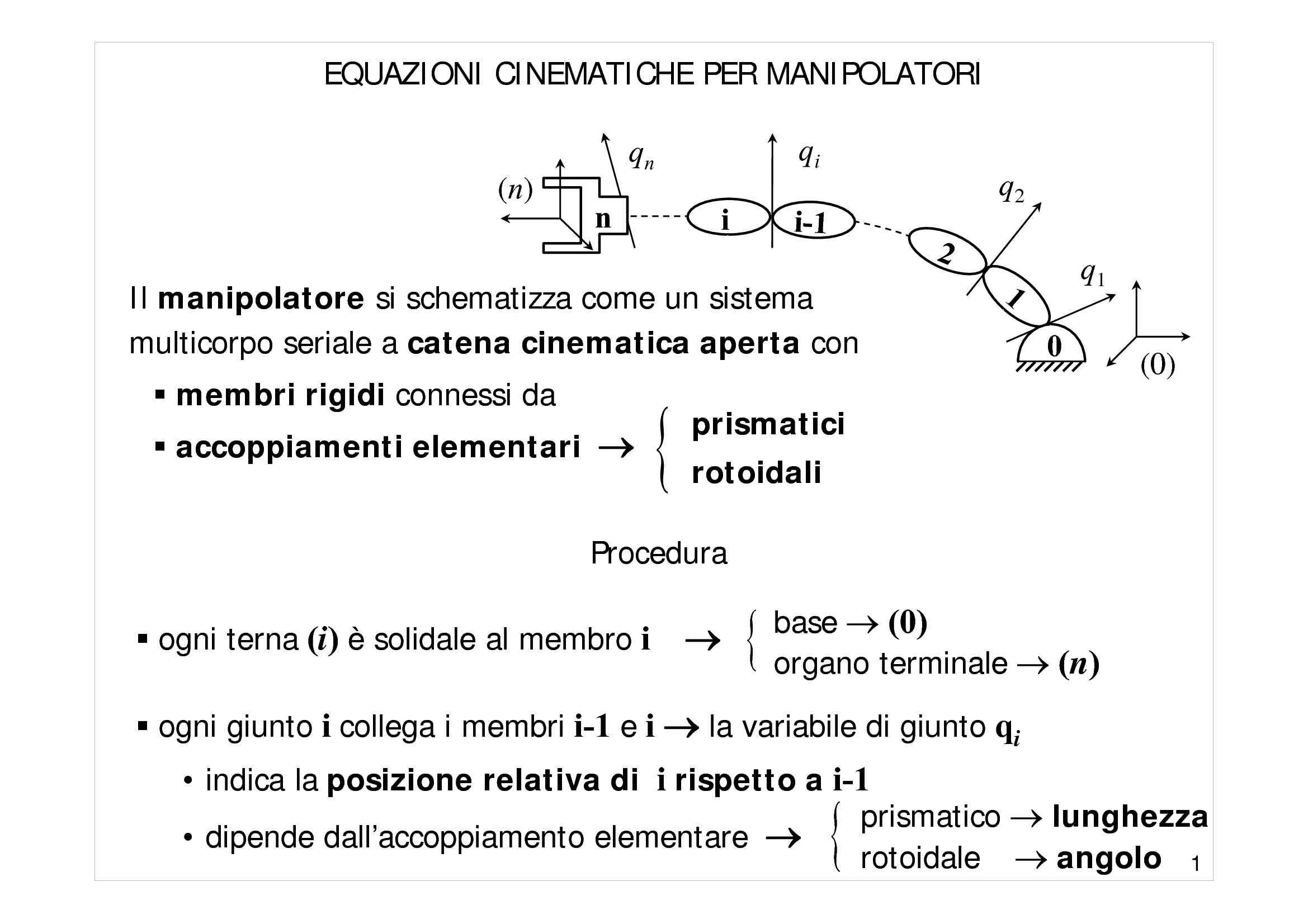Equazioni cinematiche per manipolatori