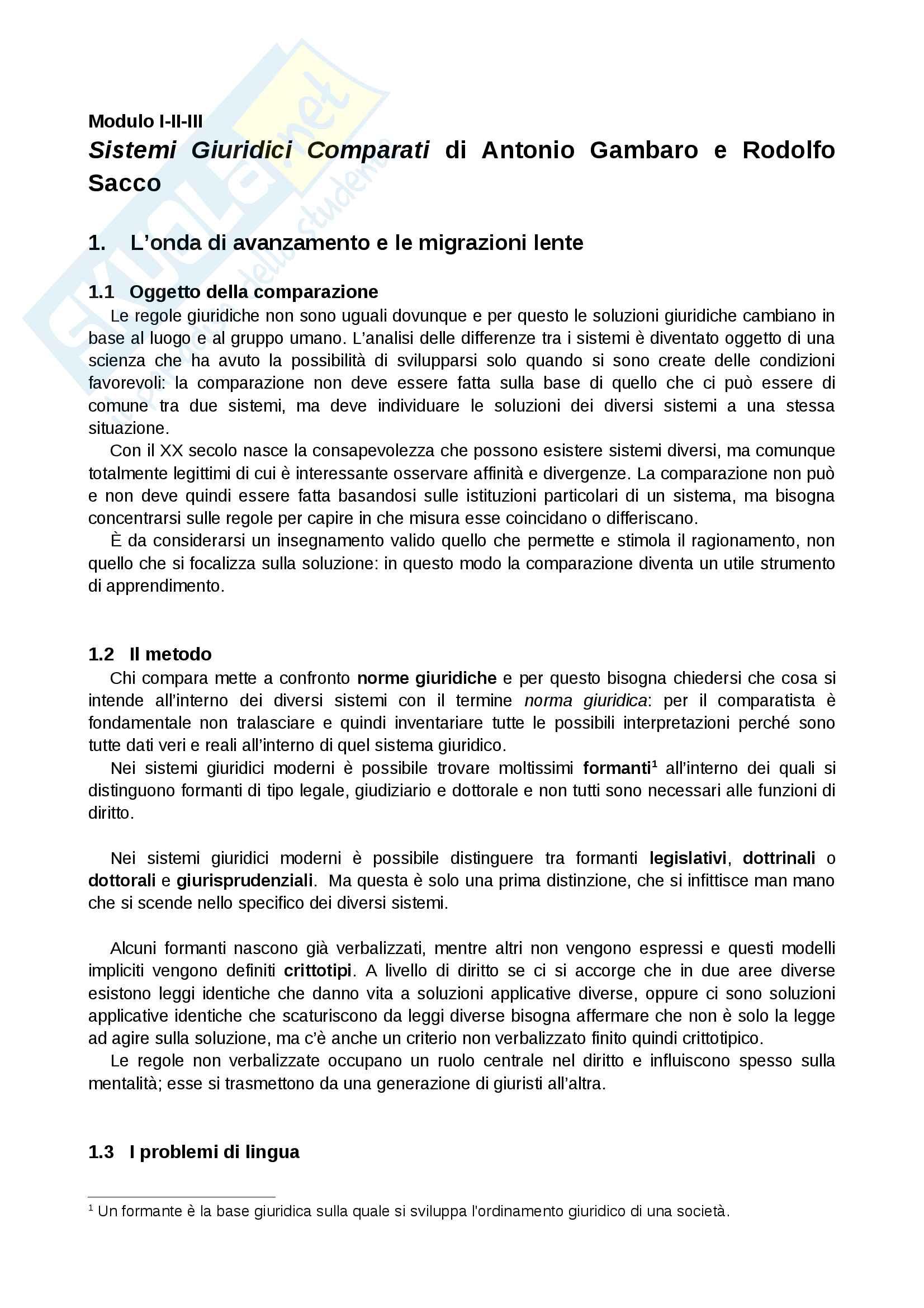 Riassunto esame Sistemi Giuridici Comparati, Prof. Pier Filippo Giuggioli, Libro Consigliato Sistemi Giuridici Comparati