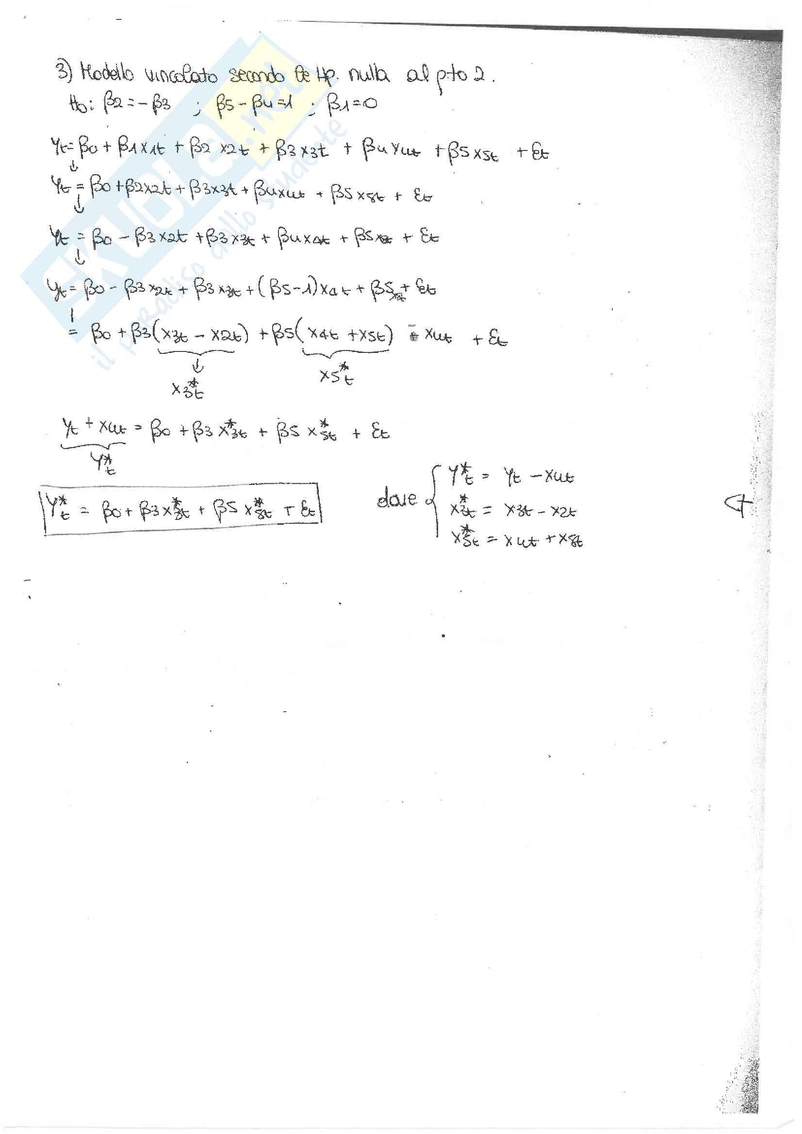 Esami di econometria con soluzione, prof. Casarin