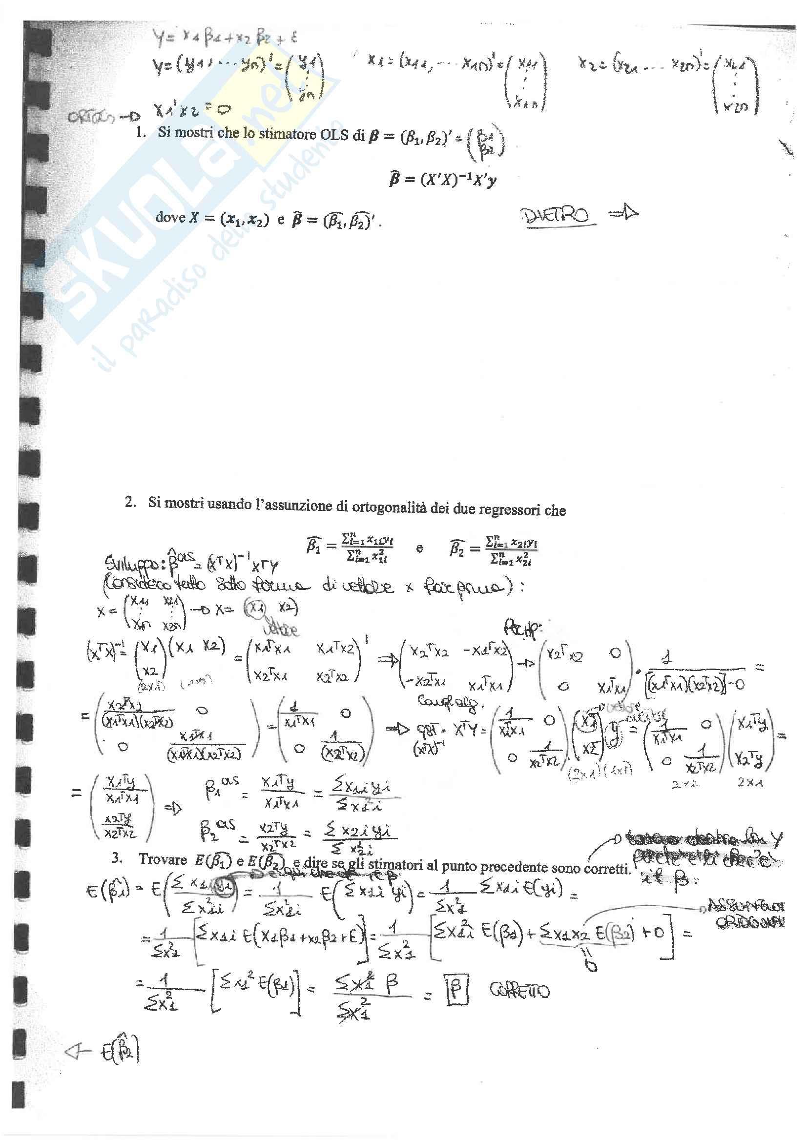 Calendario Appelli Unive.Esami Di Econometria Con Soluzione Prof Casarin