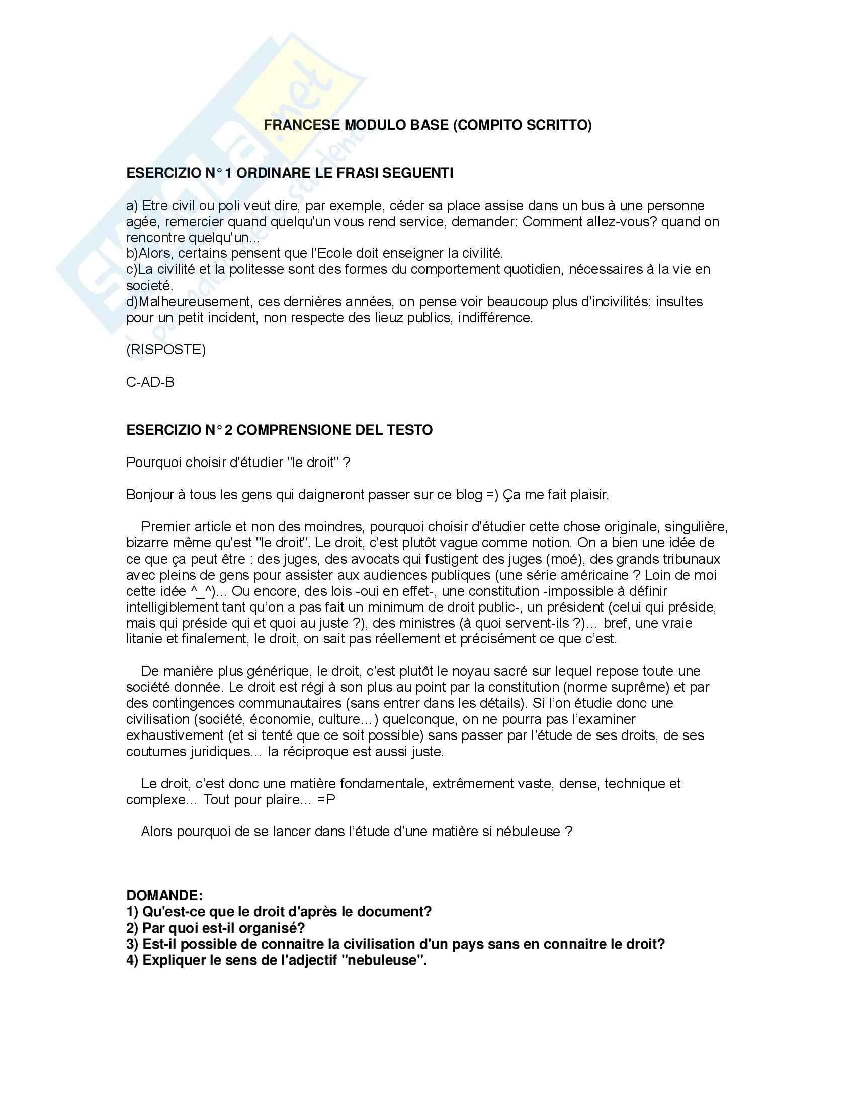 Lingua giuridica francese - Esercizi