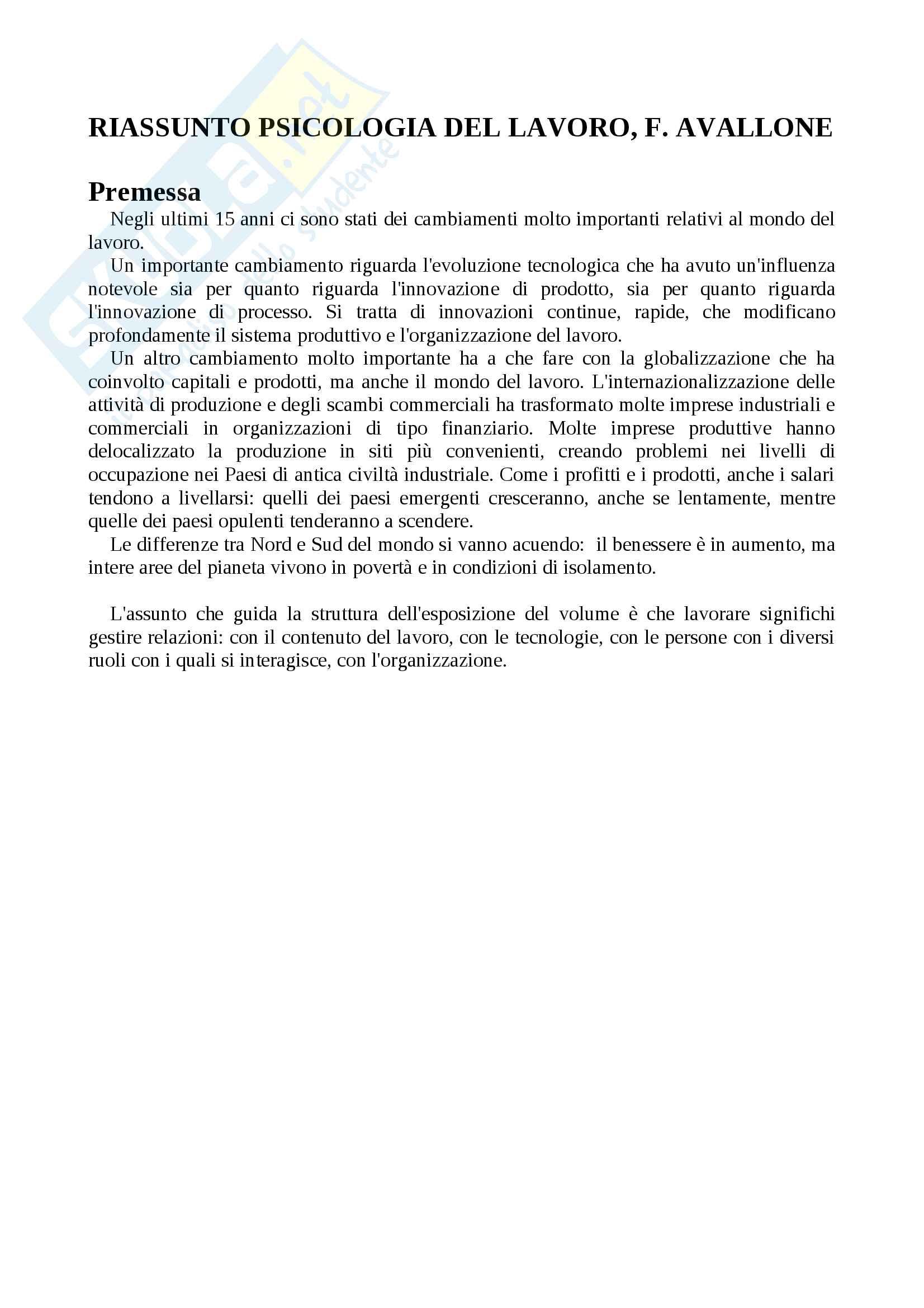 Riassunto esame psicologia del lavoro, prof. Avallone, testo consigliato Psicologia del lavoro, Avallone
