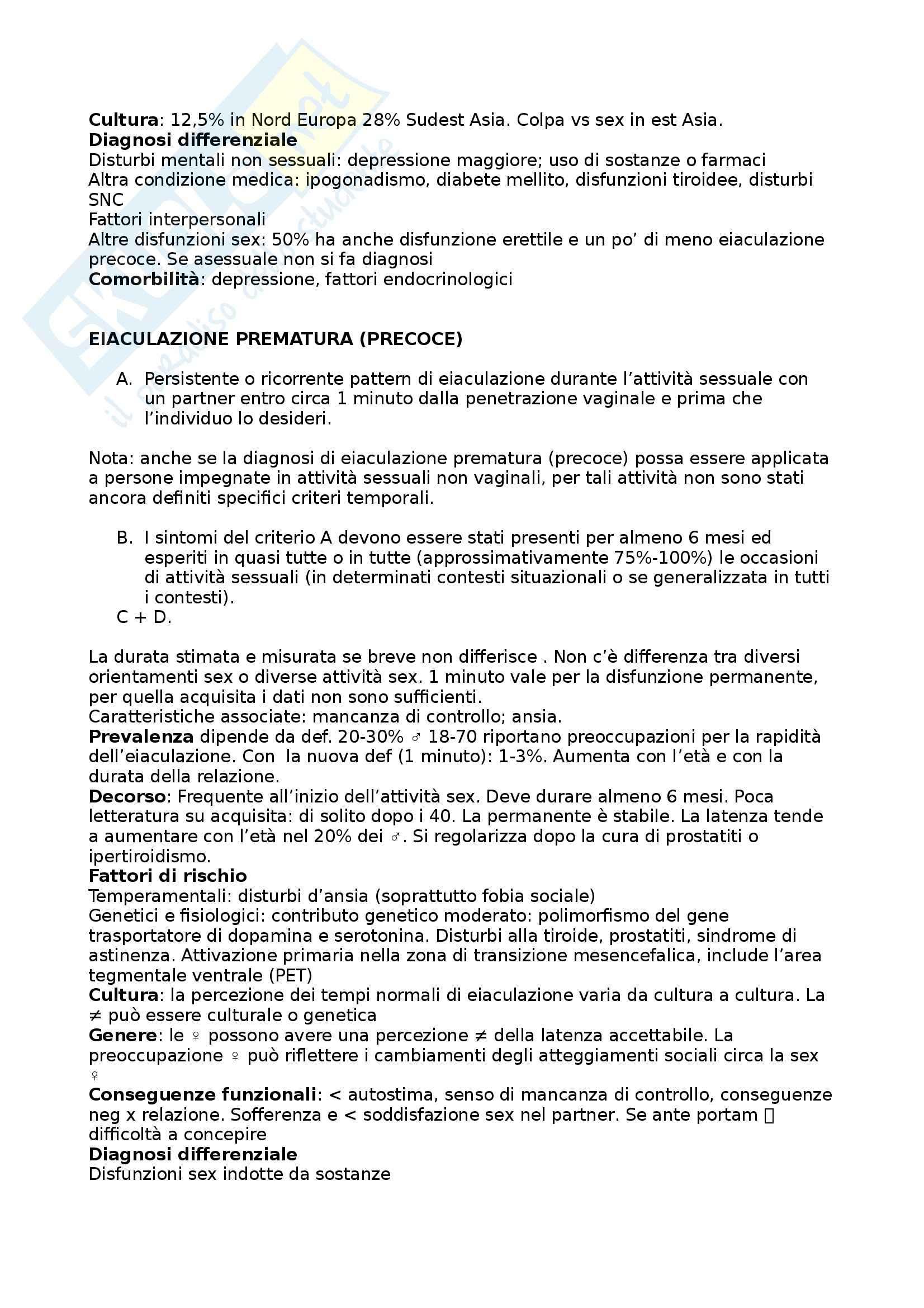 Psicologia della sessualità - disturbi sessuali DSM-V Pag. 11