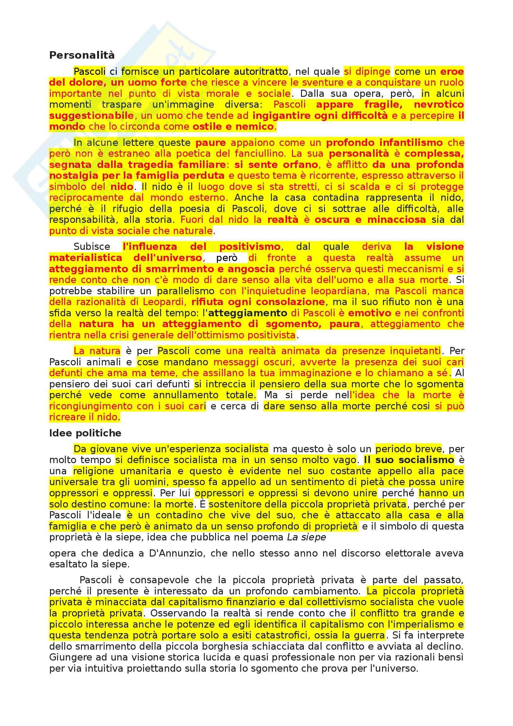 Pascoli Vita - Pensiero - Opere analizzate - Appunti Pag. 2
