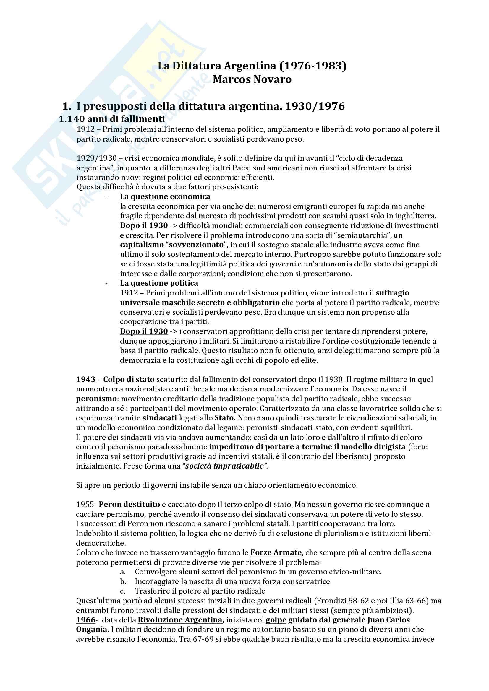Riassunto esame Storia dell'America latina, prof. Zanatta, libro consigliato La dittatura argentina, Marcos Novaro