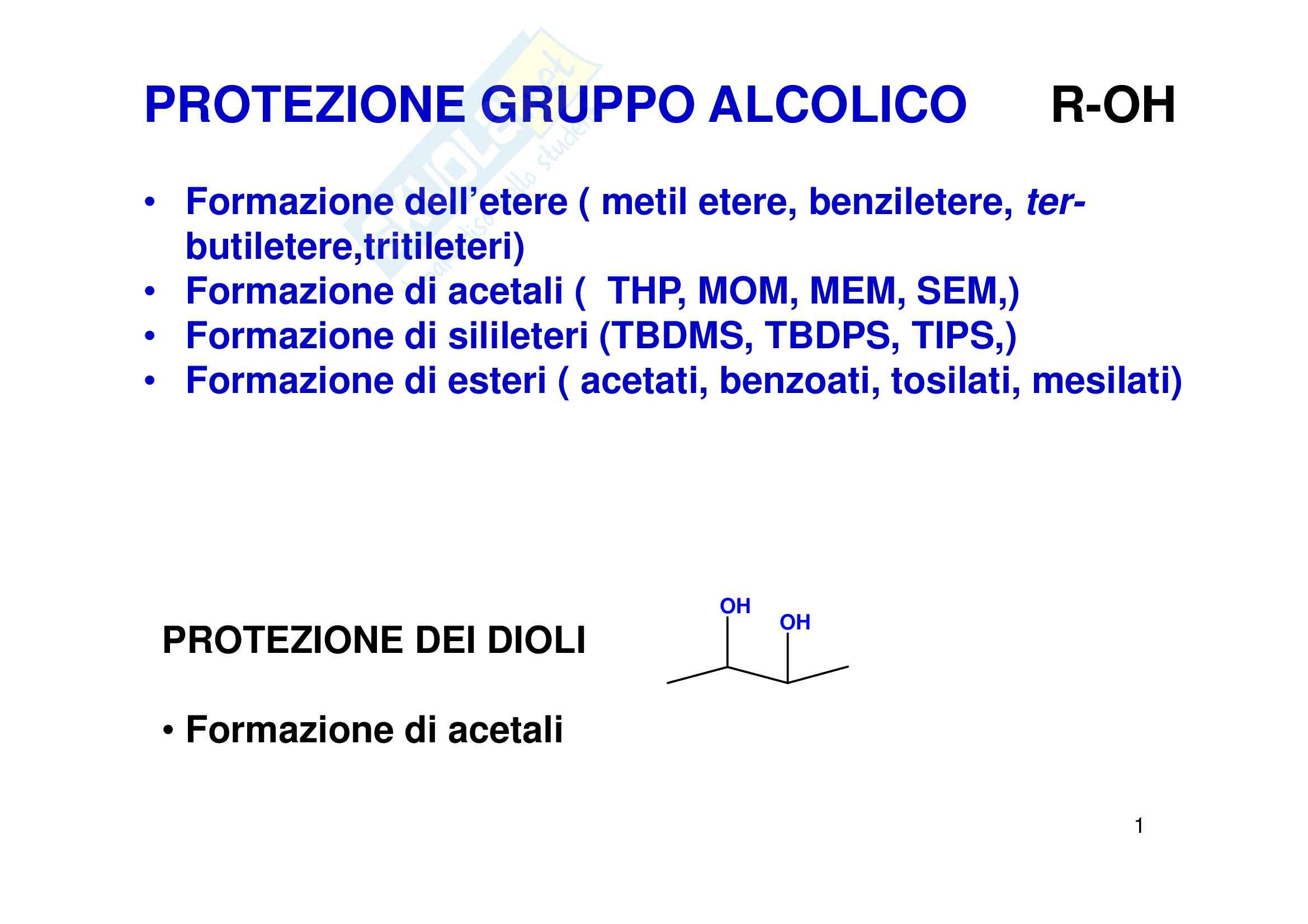 Chimica organica - gruppi protettori
